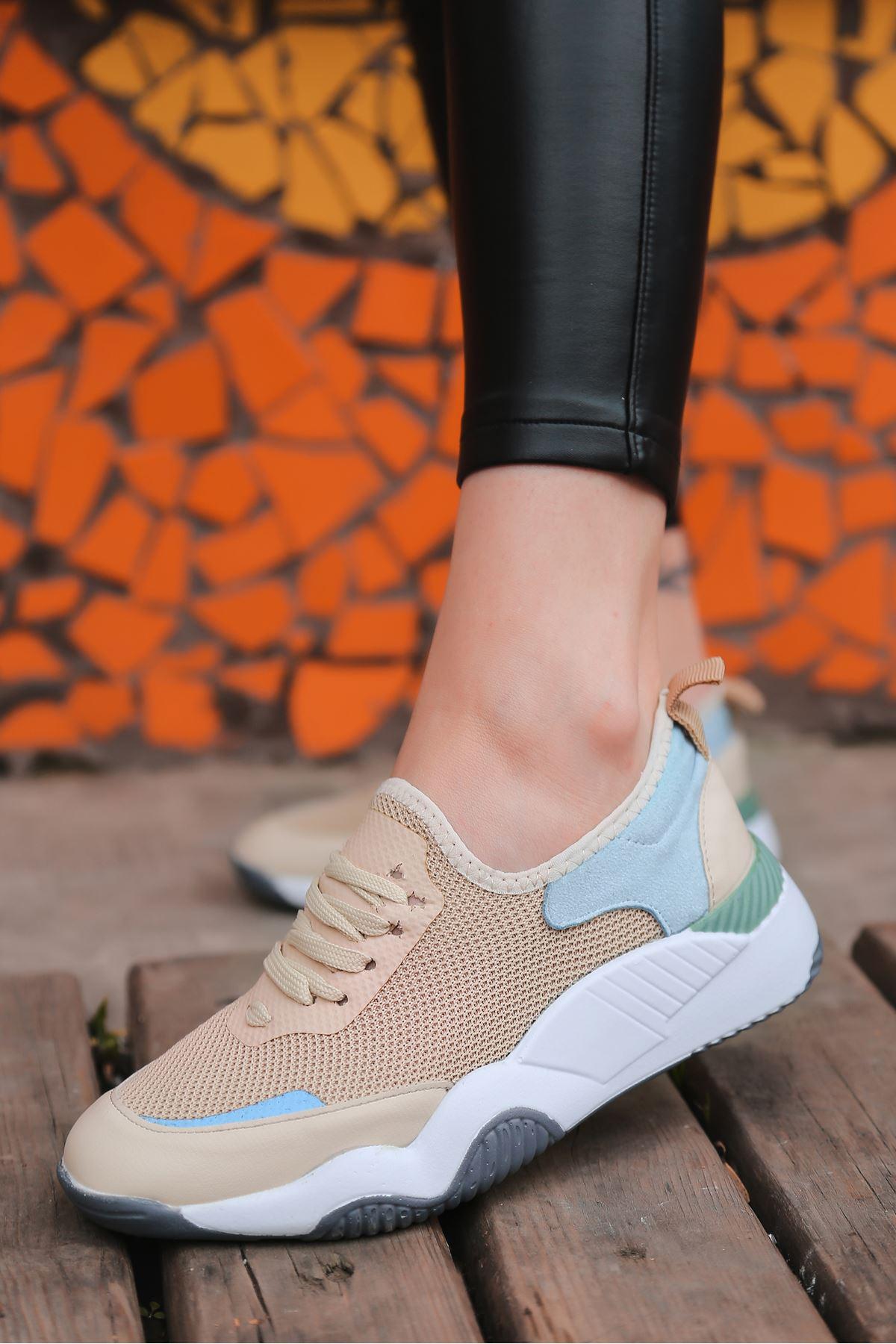Rovina Krem Mavi Parçalı Bağcık Detalı Kadın Spor Ayakkabı