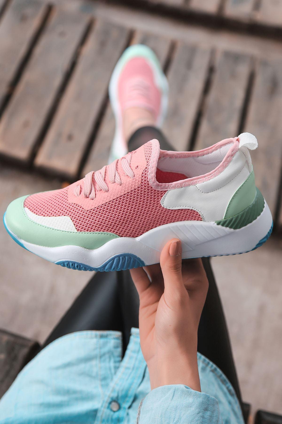 Rovina Beyaz Yeşil Parçalı Bağcık Detaylı Pembe Kadın Spor Ayakkabı