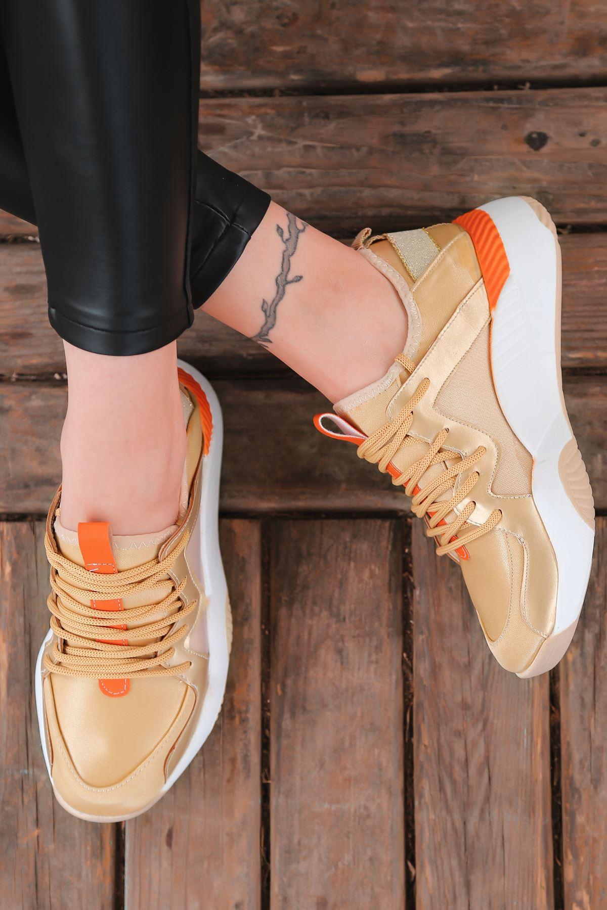 Torres Turuncu Parçalı Bağcık Detaylı Gold Kadın Spor Ayakkabı