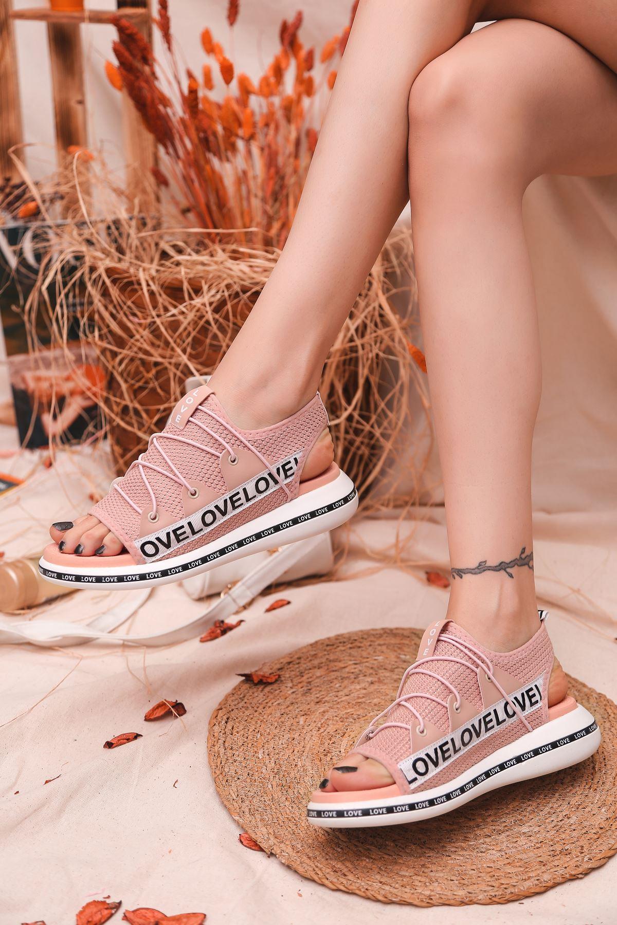 Flor Lastik Detay Likralı Triko Kadın Sandalet Pudra