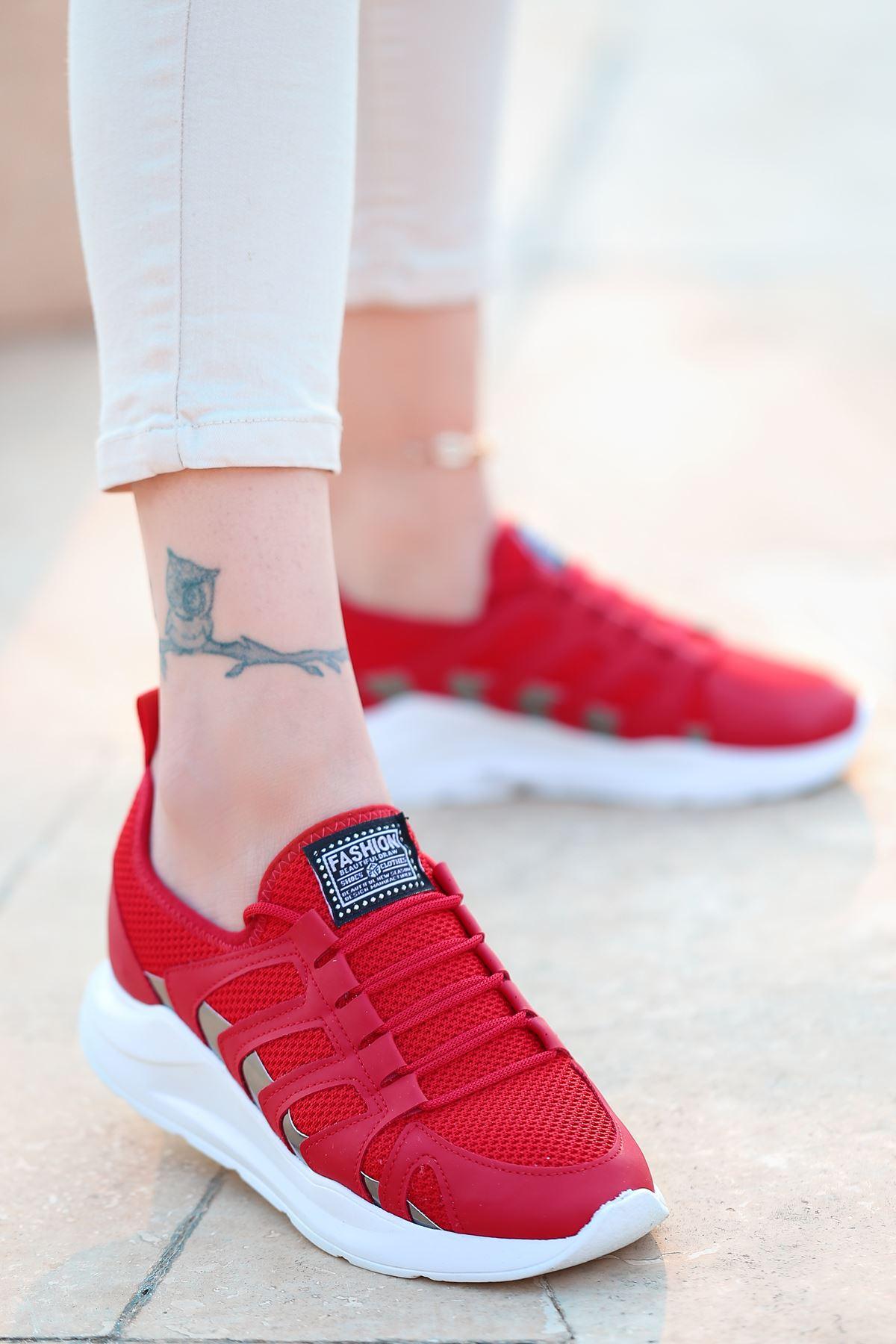 Back Bağcık Detaylı Triko Kırmızı Hologram Kadın Spor Ayakkabı