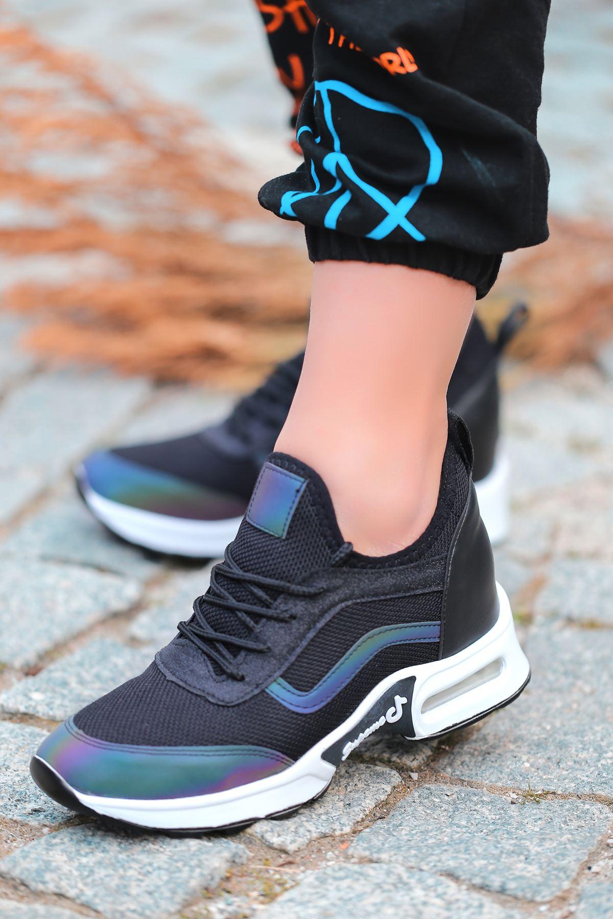 Army Hava Tabanlı Fileli Bağcık Detaylı Siyah Hologramlı Kadın Spor Ayakkabı