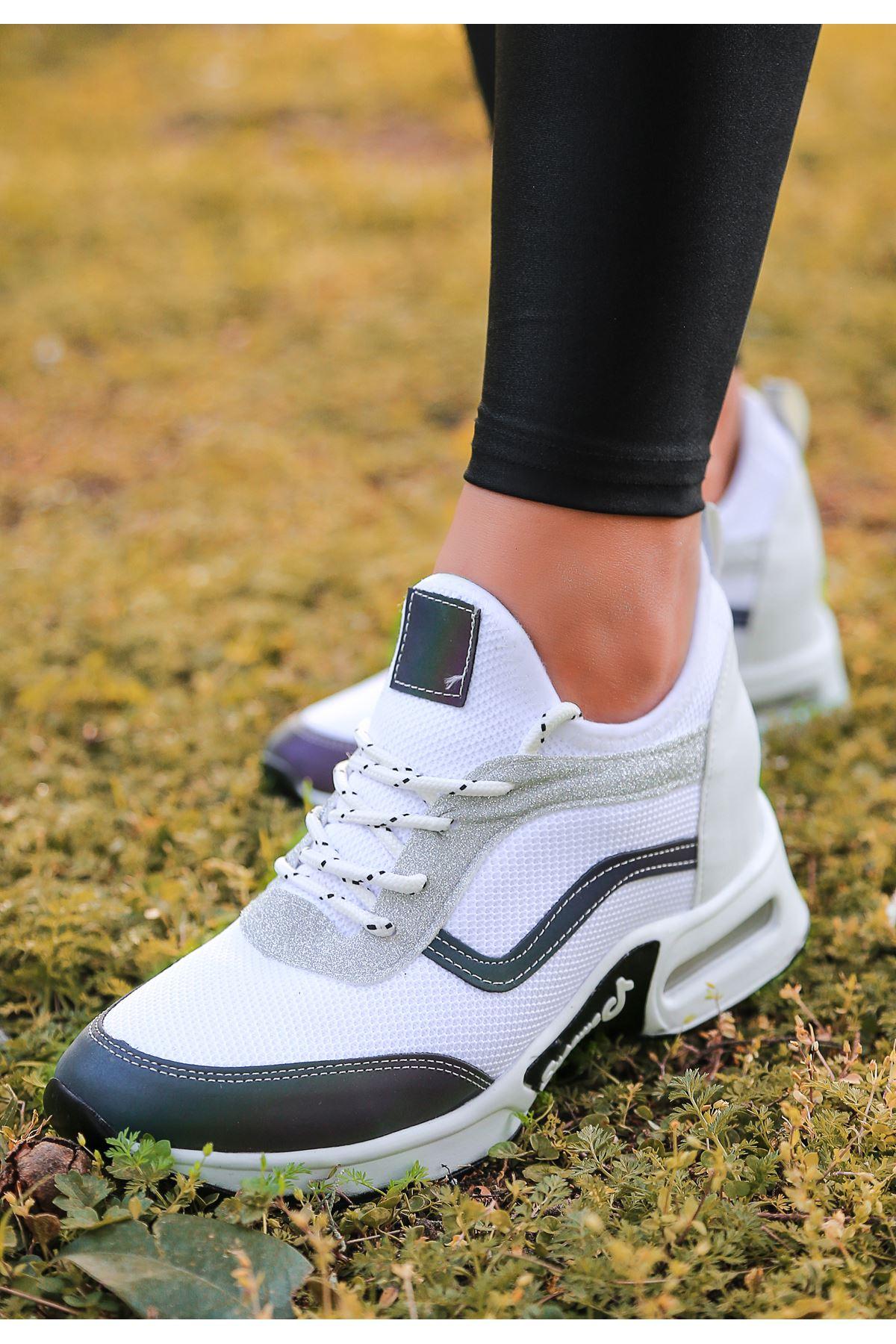 Army Hava Tabanlı Fileli Bağcık Detaylı Beyaz Hologramlı Kadın Spor Ayakkabı