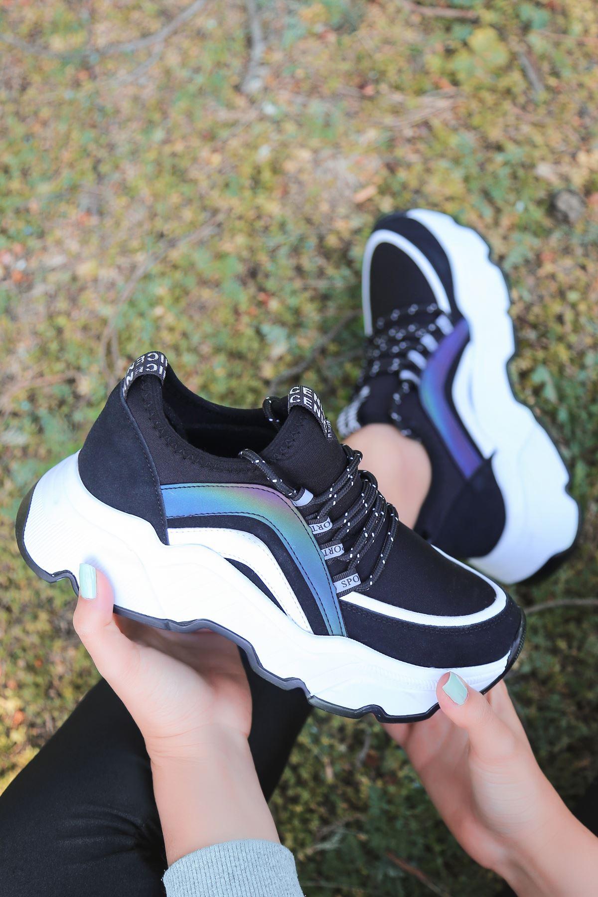 Pedro Bağcık Detaylı Hologramlı Siyah Kadın Spor Ayakkabı