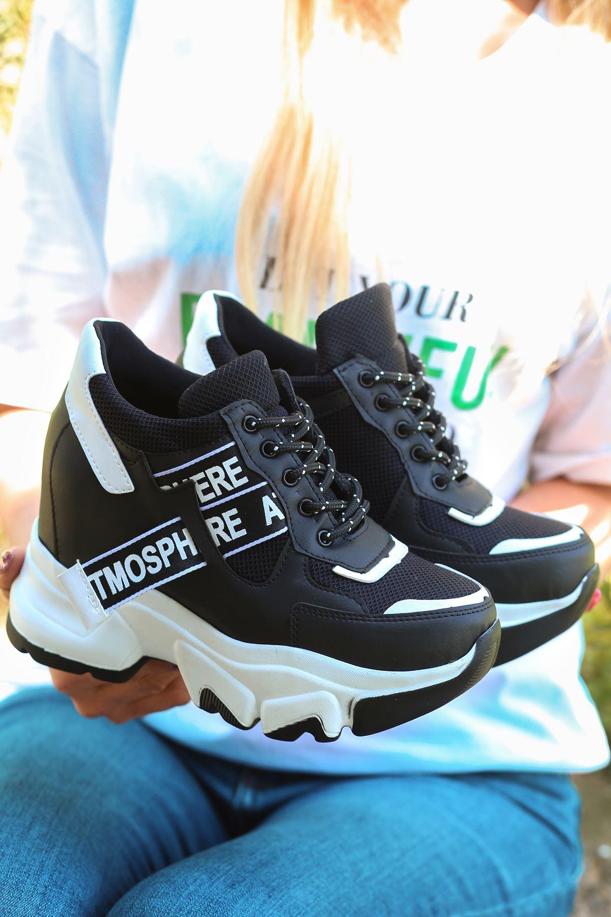 Pher Bağcık Detaylı Yüksek Taban Siyah Kadın Spor Ayakkabı