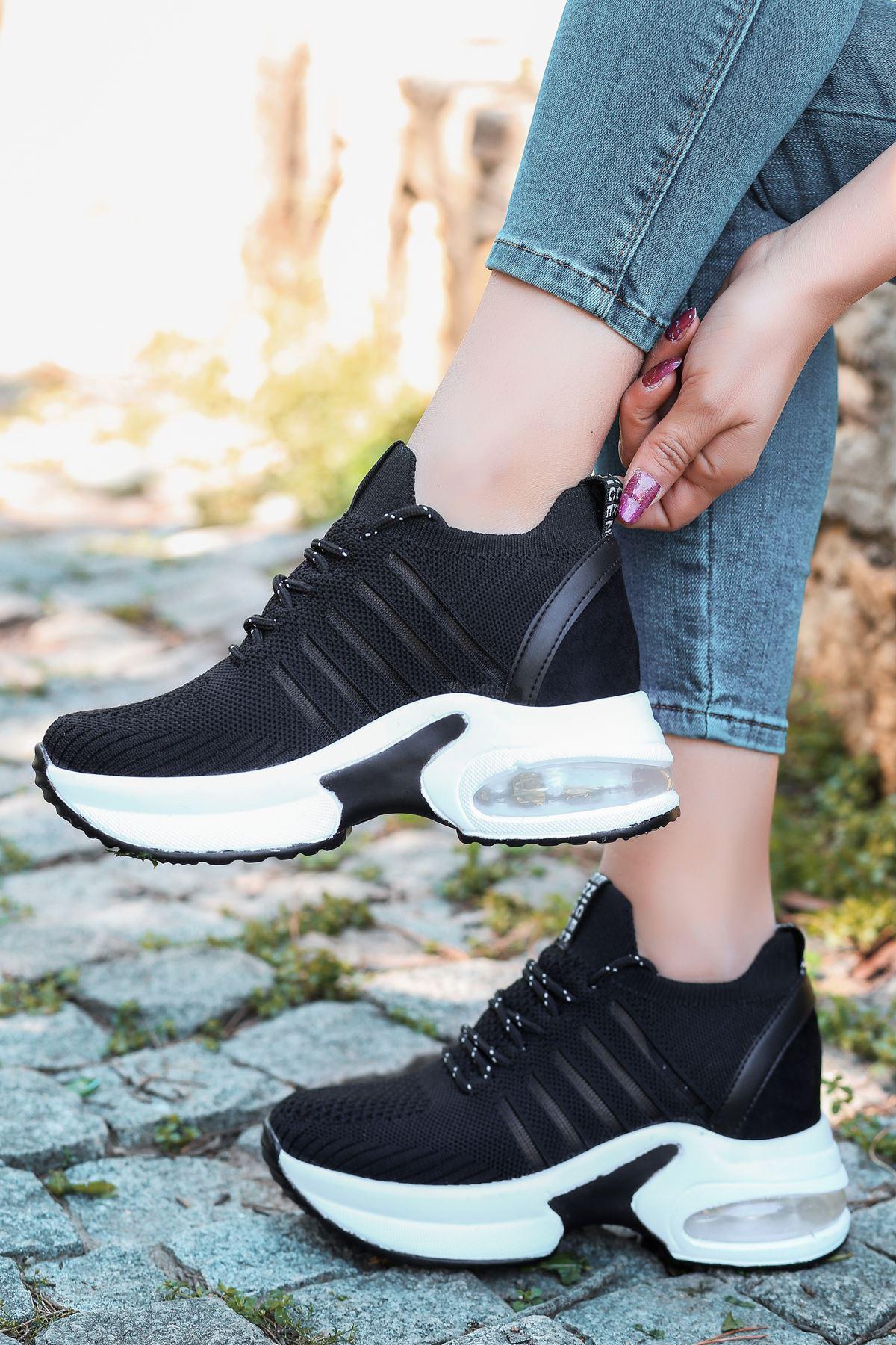 Loli Hava Tabanlı Triko File Detay Siyah Kadın Spor Ayakkabı