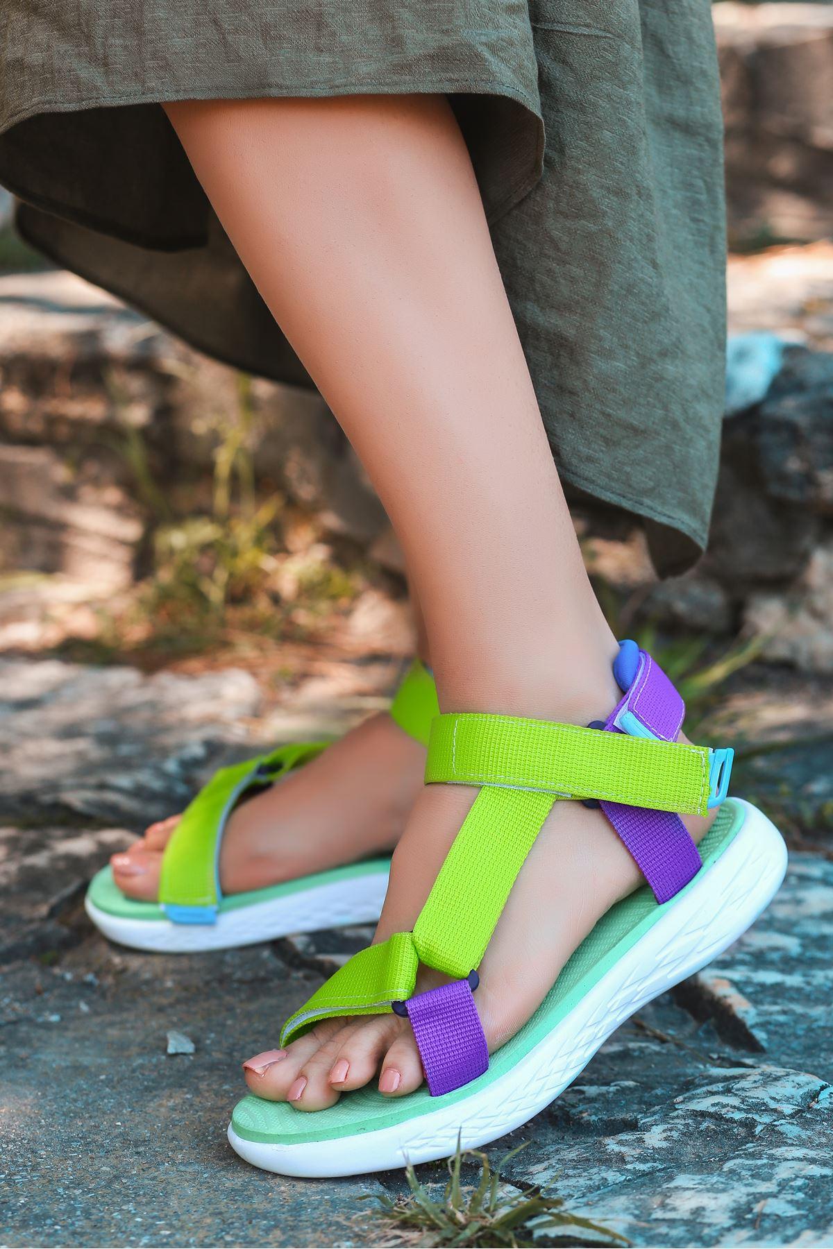 King Neon Yeşil-Mor Cırtlı Kadın Sandalet