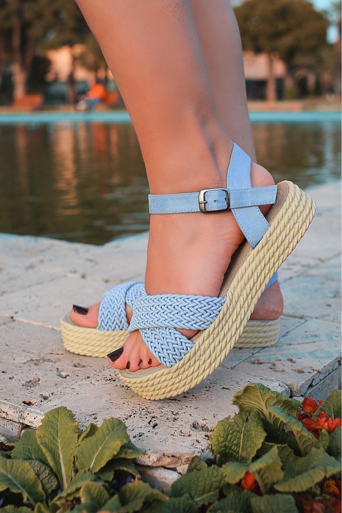 Dory Örgülü Kadın Sandalet Bebek Mavi