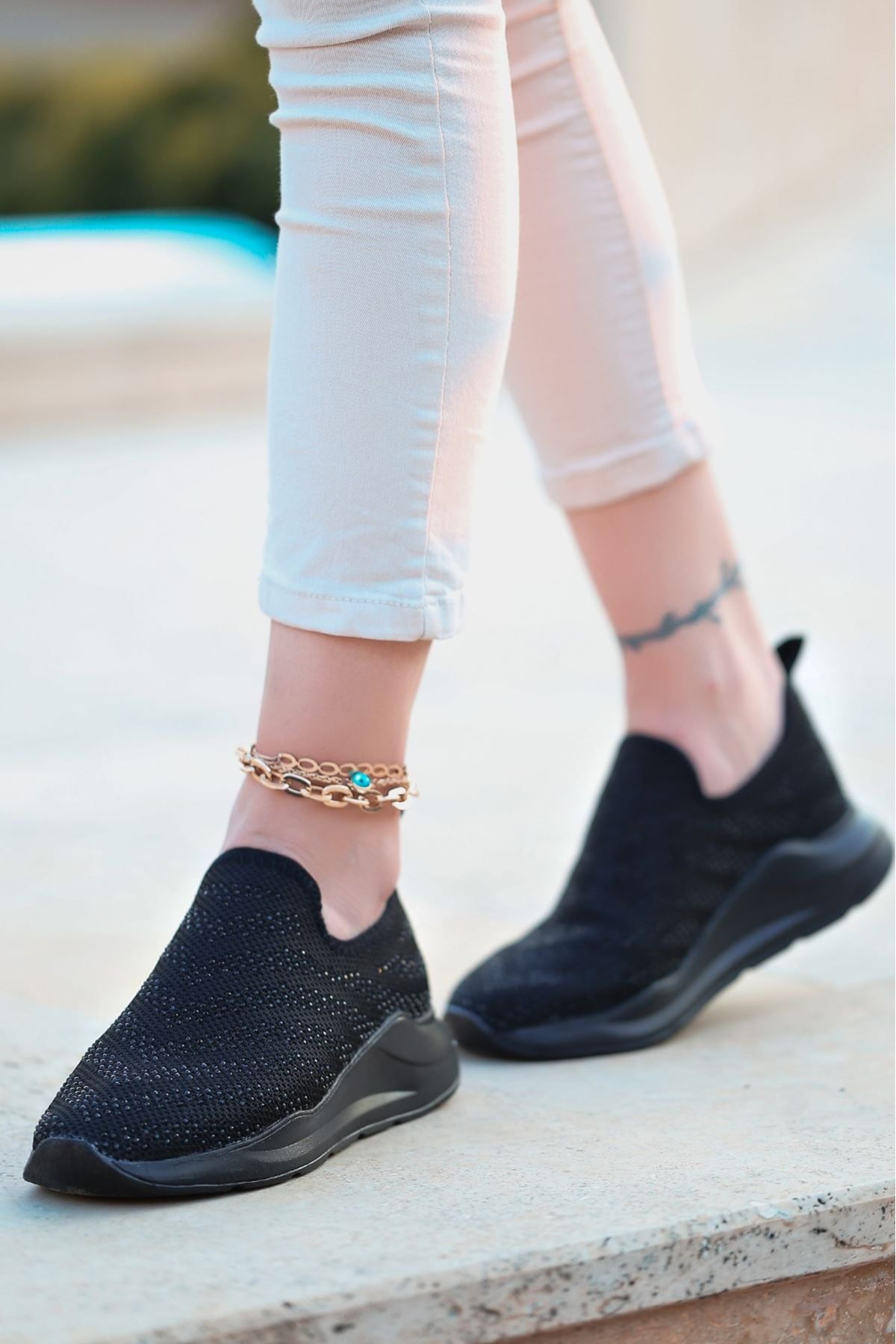 Tiger Taş Detaylı Siyah Triko Kadın Spor Ayakkabı