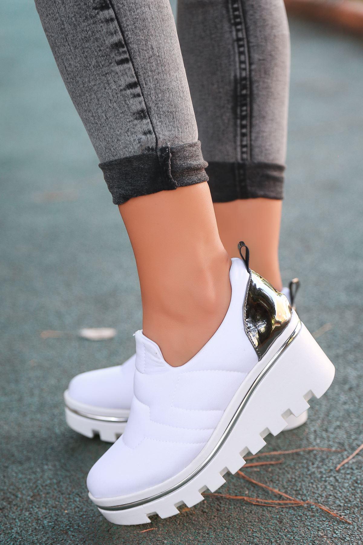 Anna Dalgıç Kumaş Dolgu Topuk Ayakkabı Beyaz