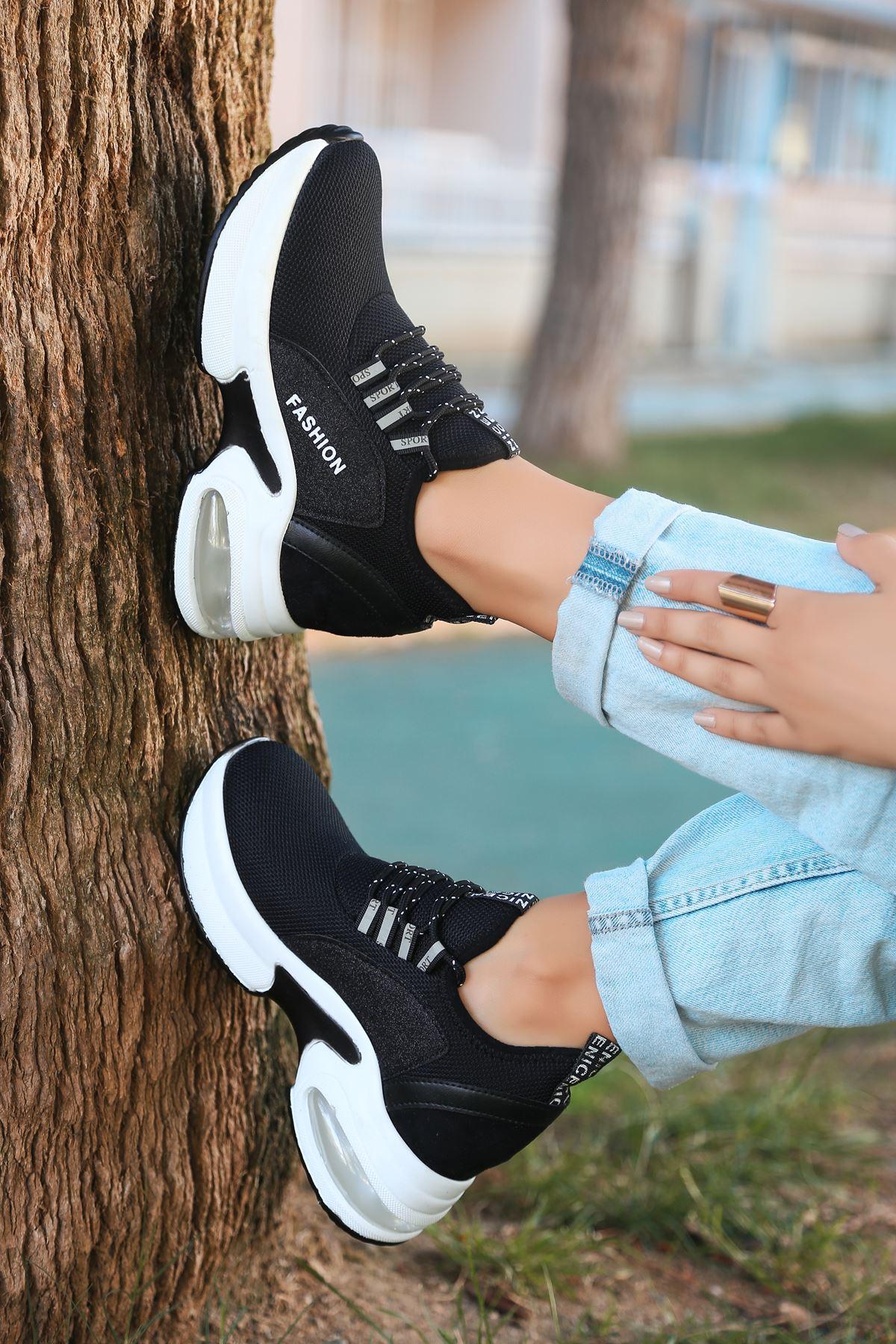 Odessa Triko Hava Taban Detaylı Ortopedik  Kadın Spor Ayakkabı Siyah