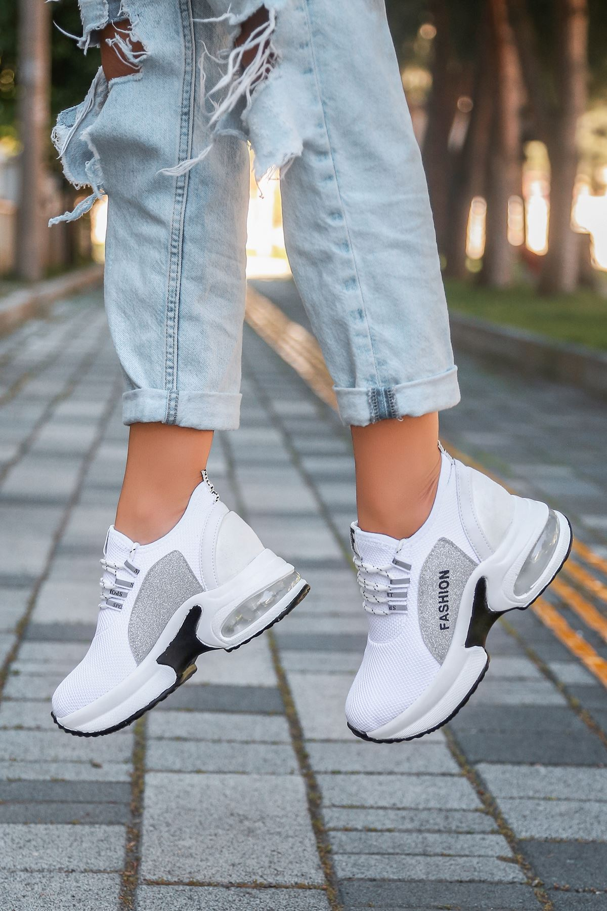 Odessa Triko Hava Taban Detaylı Ortopedik  Kadın Spor Ayakkabı Beyaz