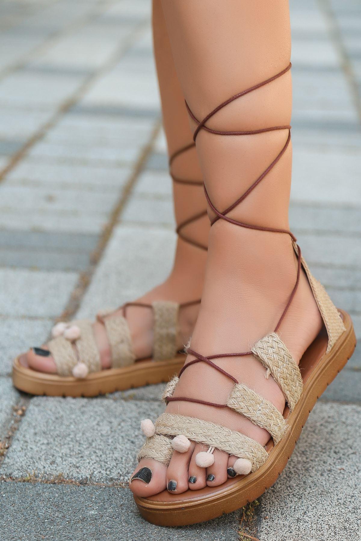 İona Hasır Detay İpli Kadın Sandalet Ten