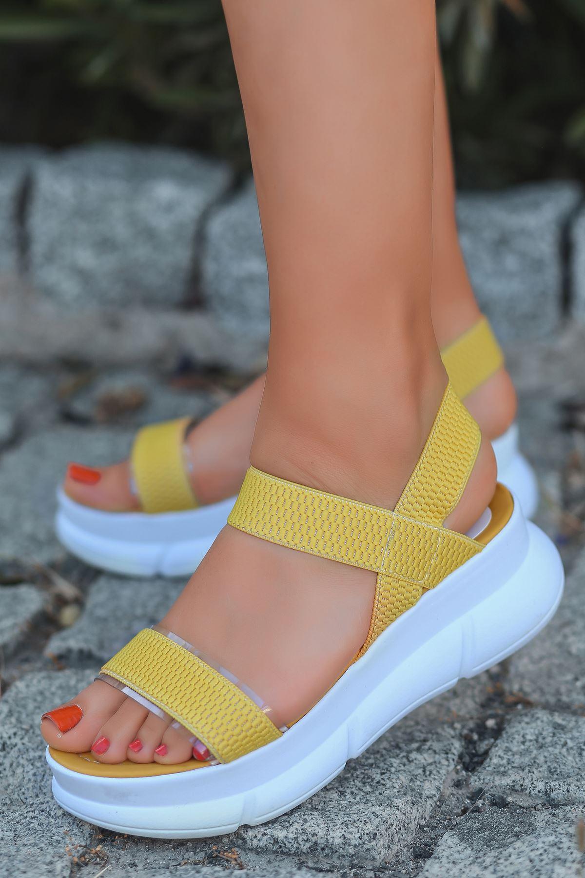 Aure Şeffaf Detay Triko Sarı Kadın Sandalet