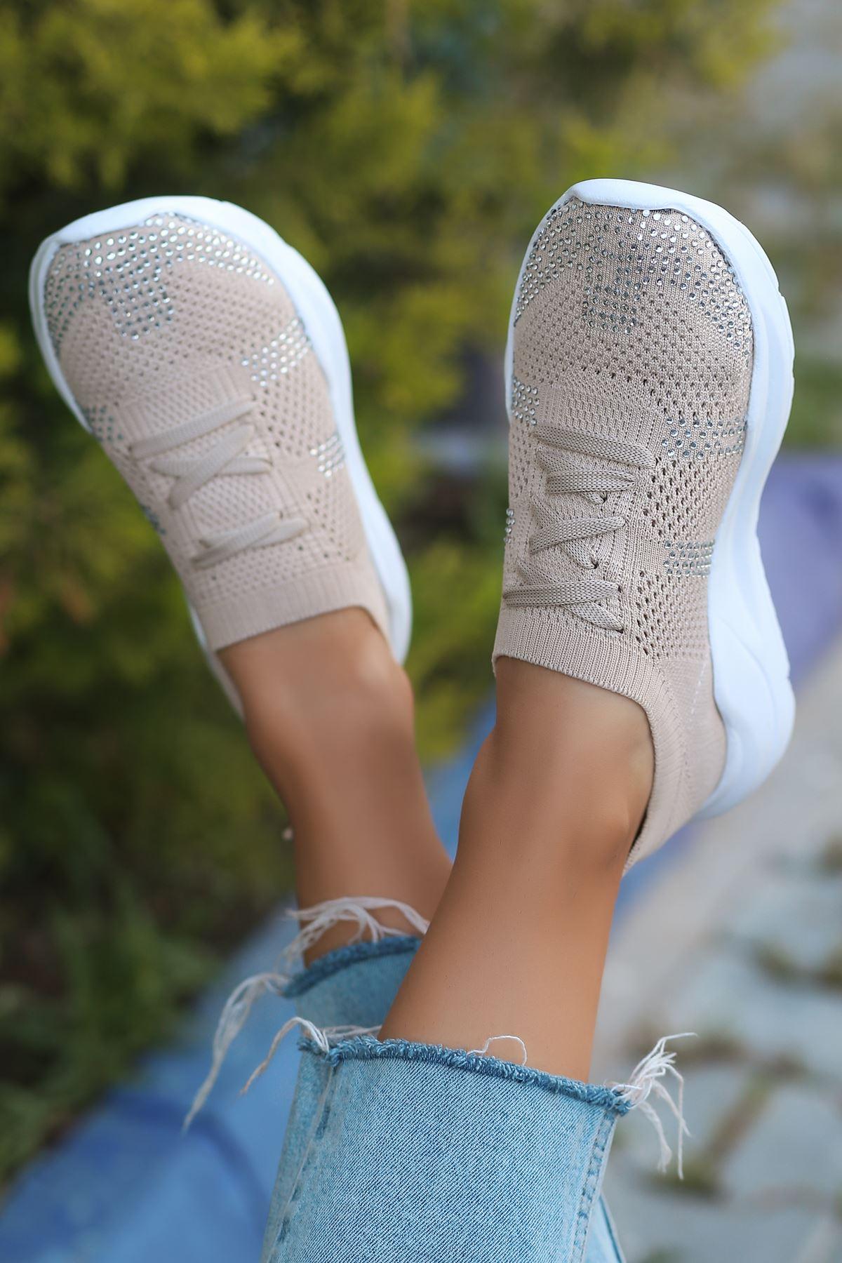Anzel Bağcık Detaylı Vizon Triko Taşlı Kadın Spor Ayakkabı