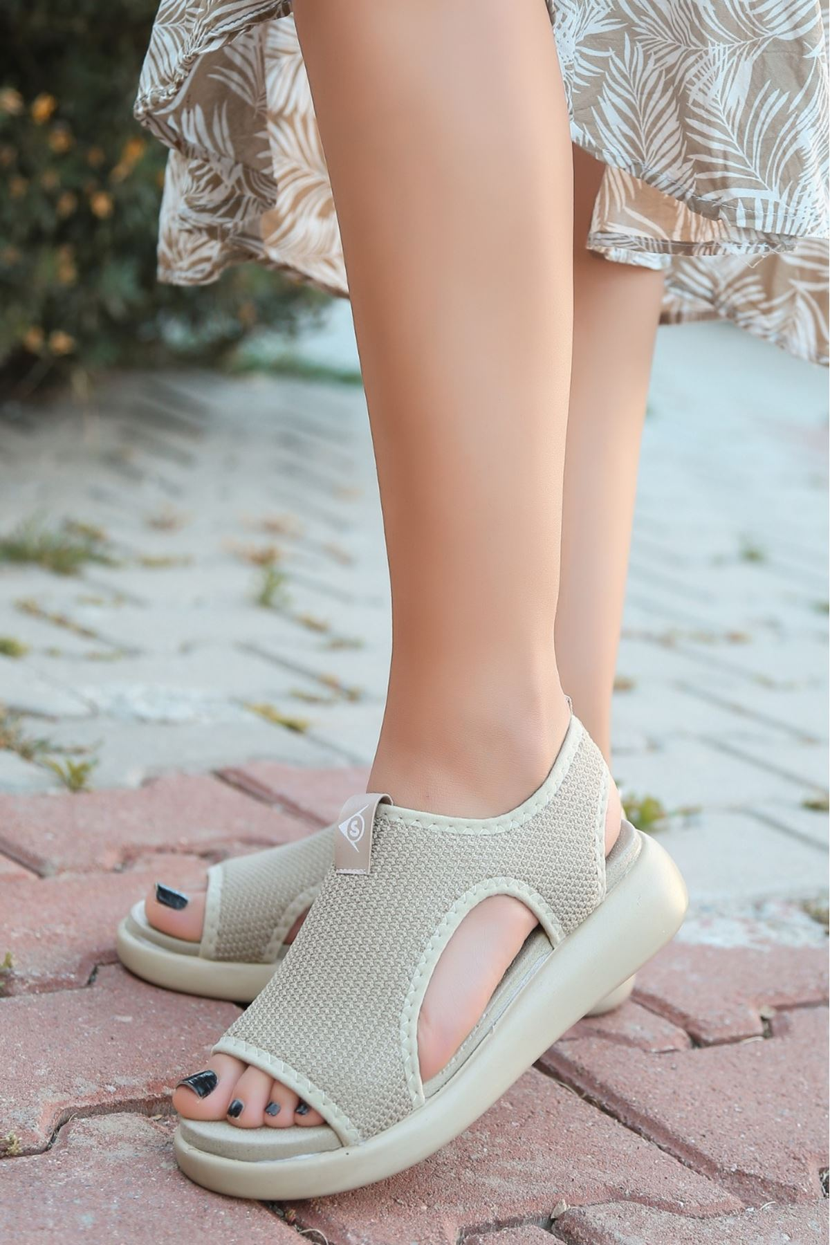 Comfy Triko Krem Kadın Sandalet