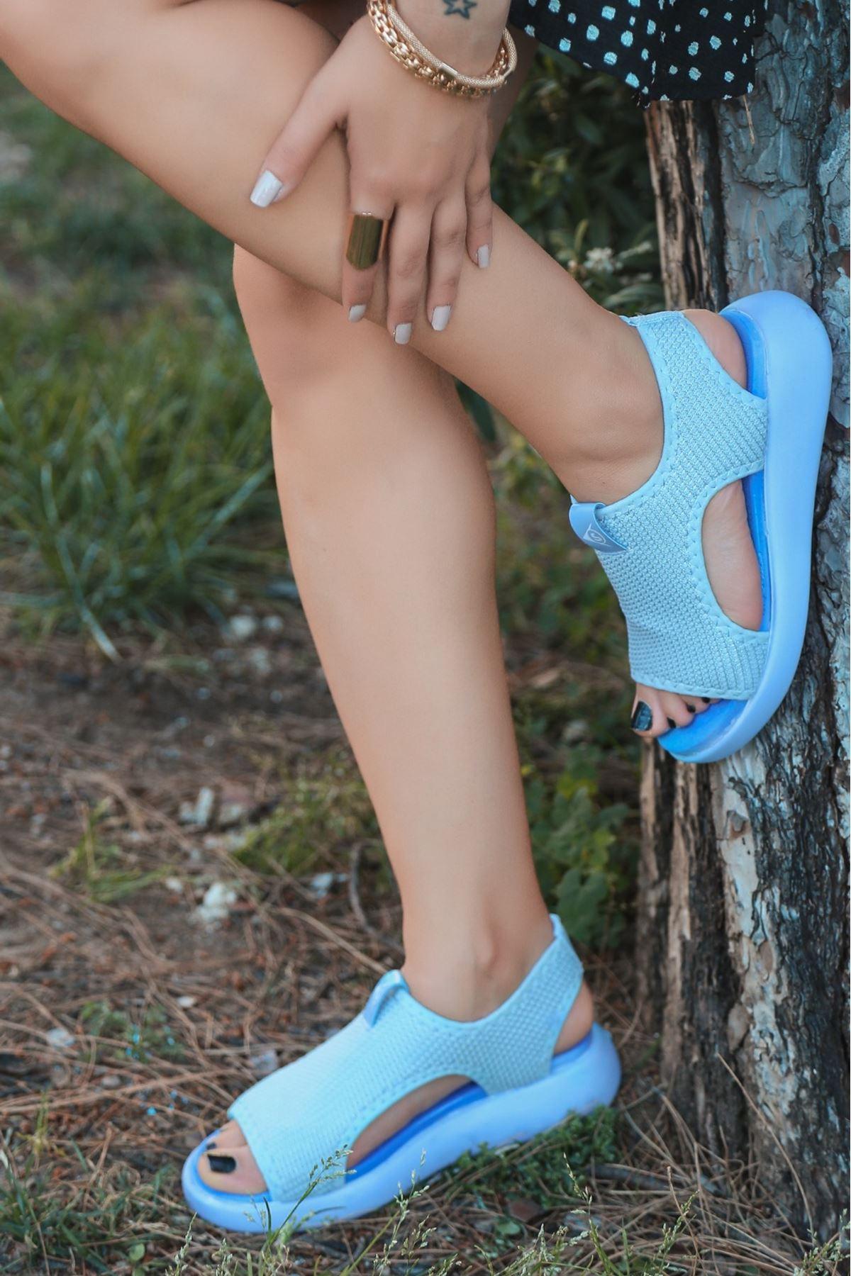 Comfy Triko Bebek Mavi Kadın Sandalet