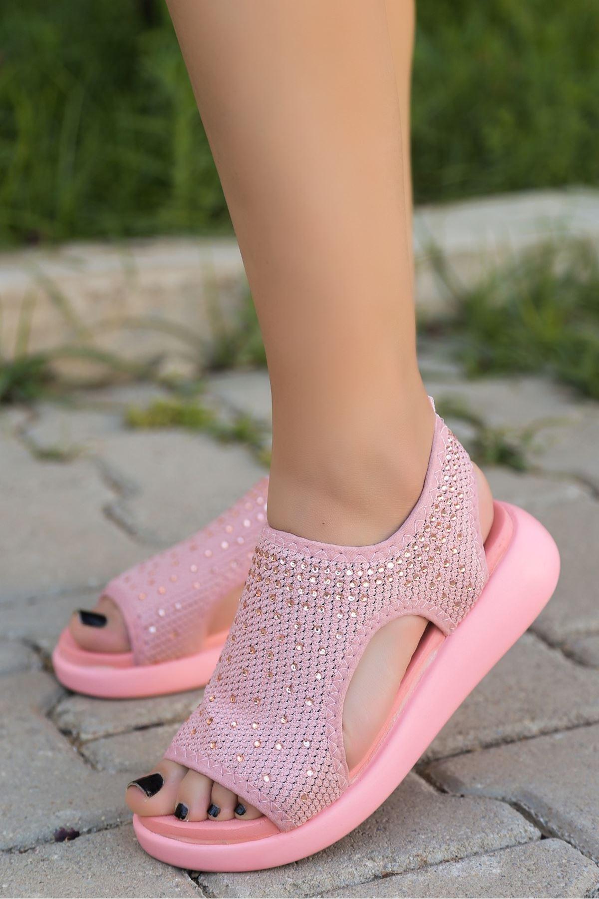 Merne Taş Detaylı Triko Pudra Kadın Sandalet