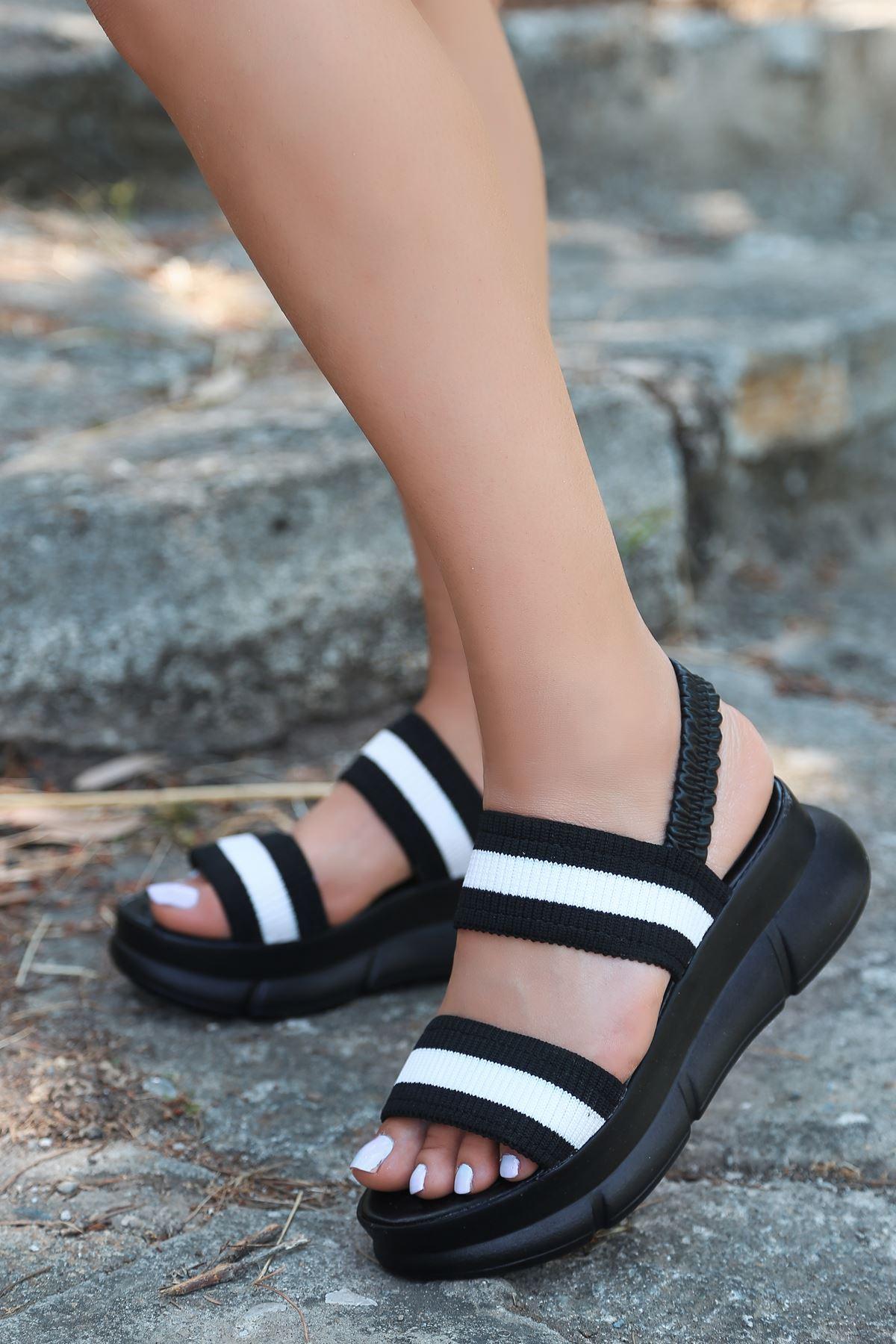 Shine Triko Sandalet Siyah S.T