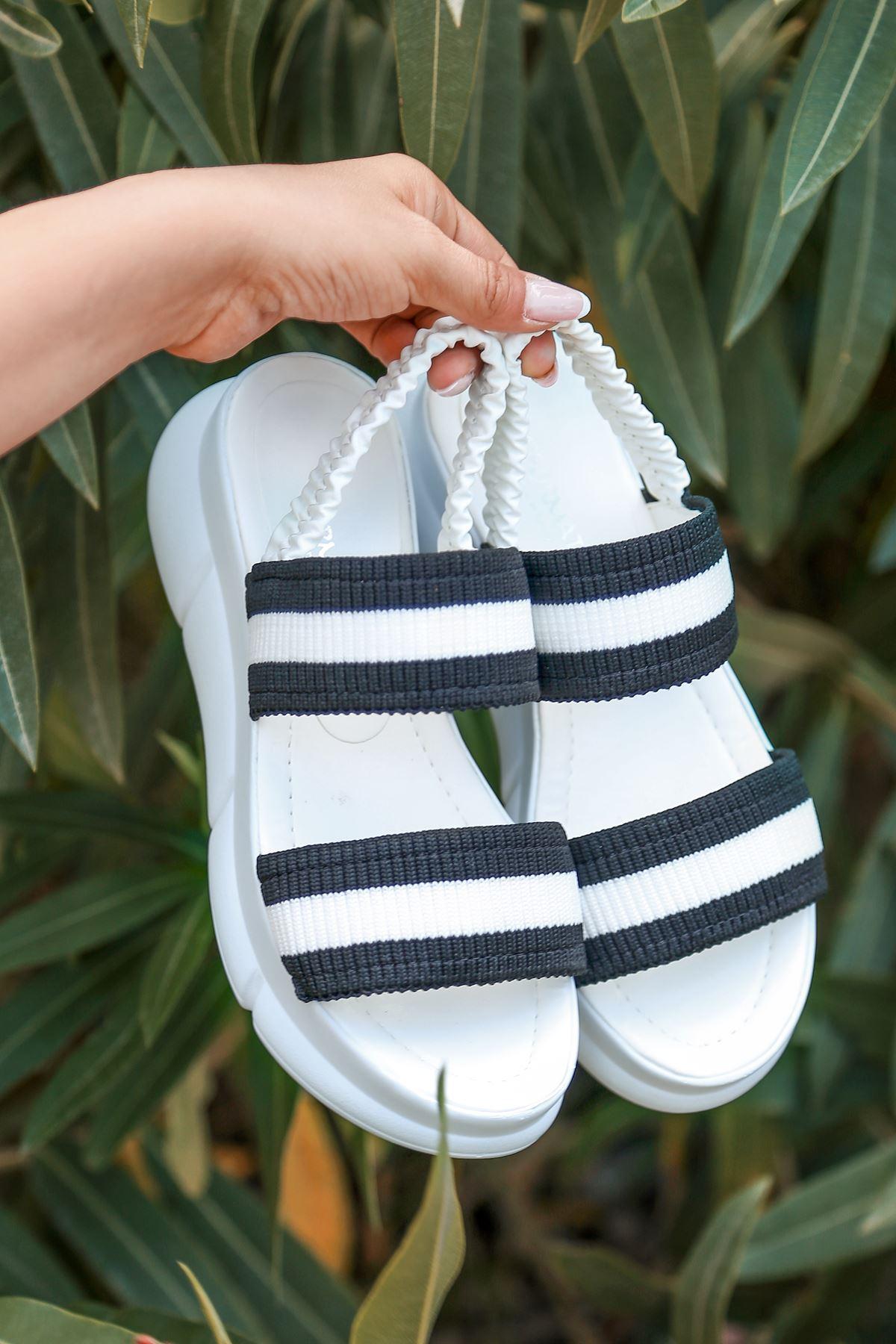 Shine Triko Sandalet Beyaz