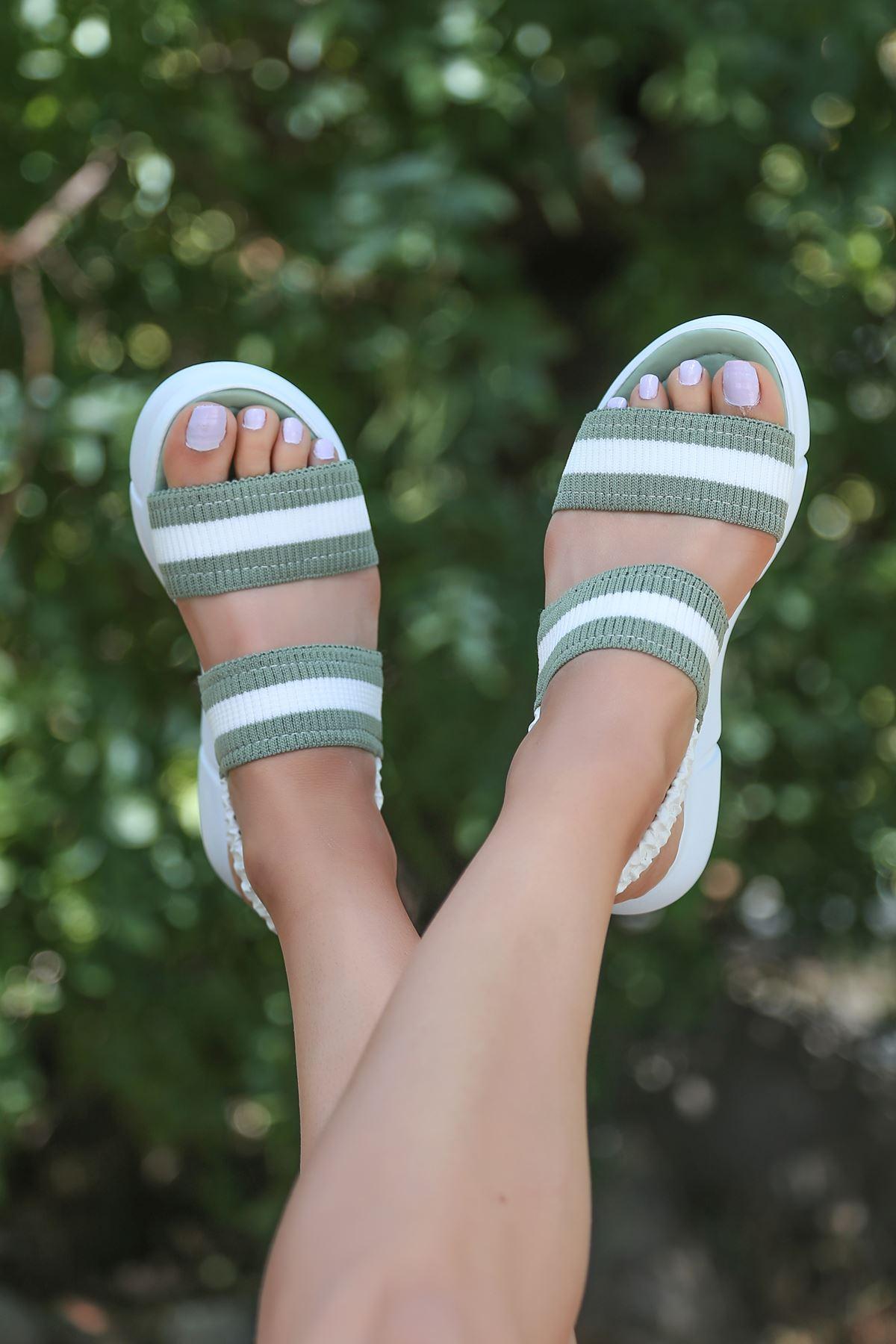 Shine Triko Sandalet Mint Yeşili