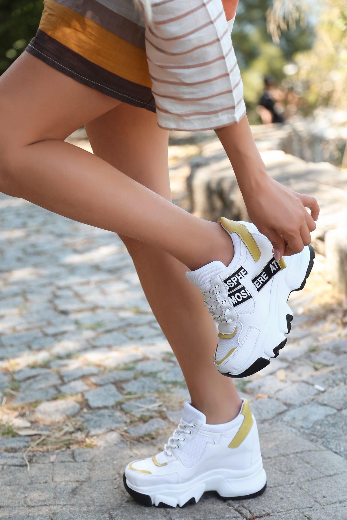 Pher Bağcık Detaylı Yüksek Taban Sarı Parçalı Beyaz Kadın Spor Ayakkabı ST