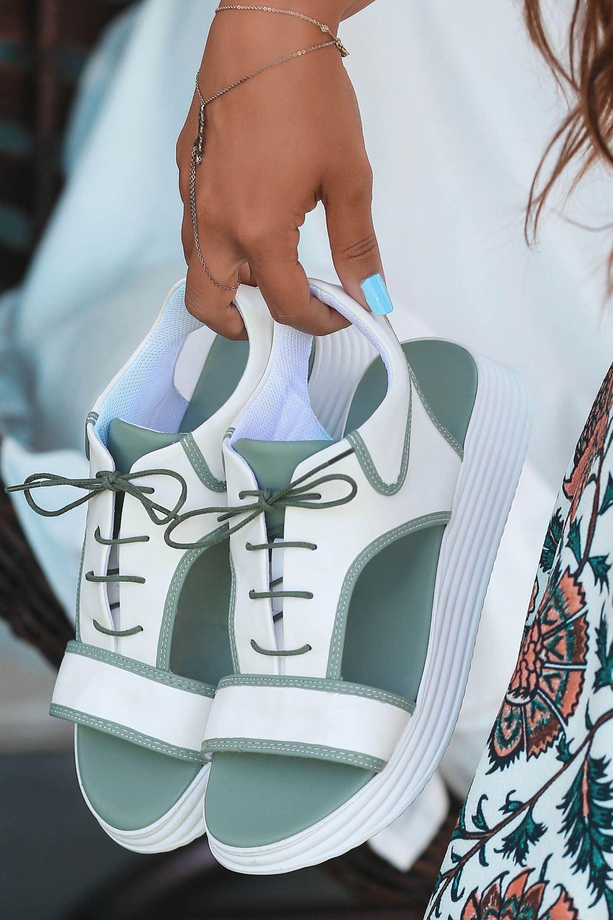 Lace Mat Deri Bağcık Detay Sandalet Mint Yeşili