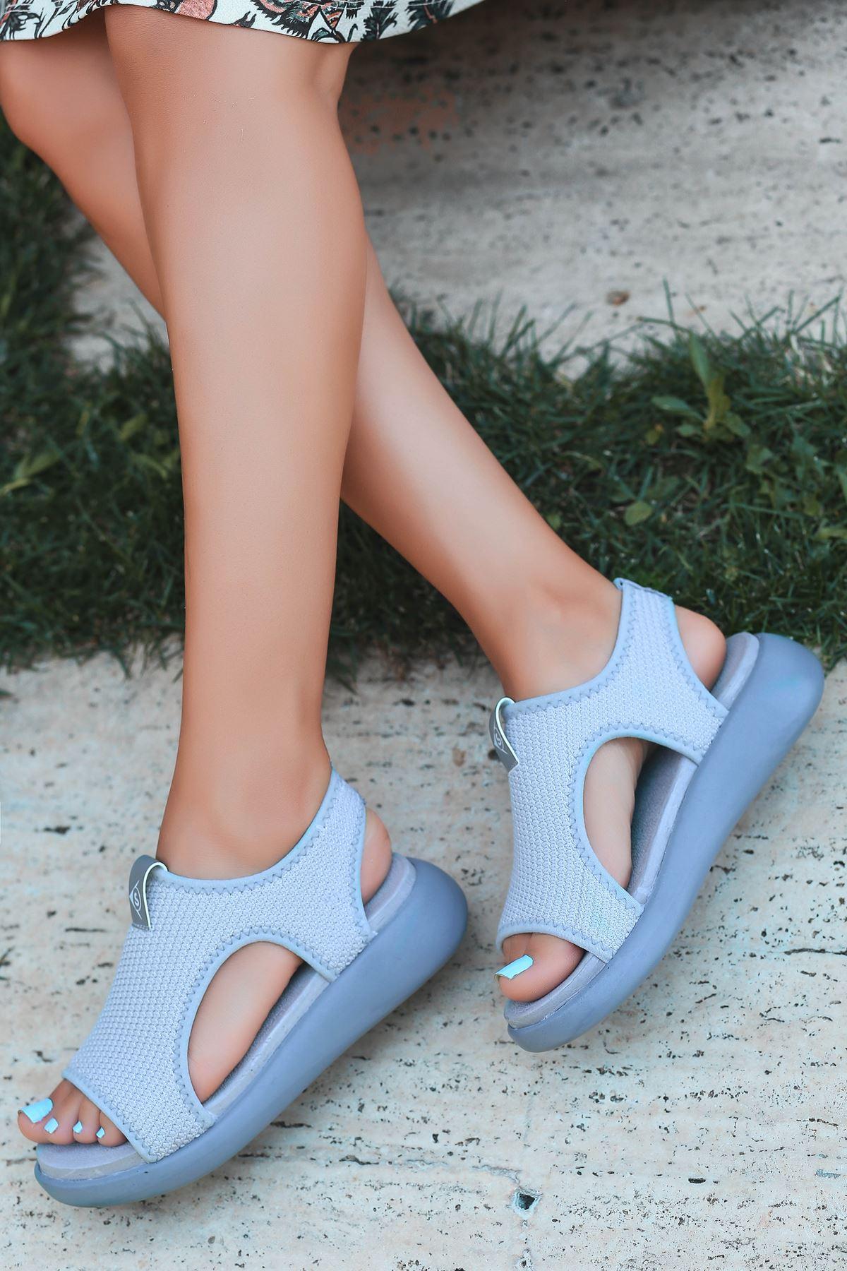 Comfy Triko Gri Kadın Sandalet