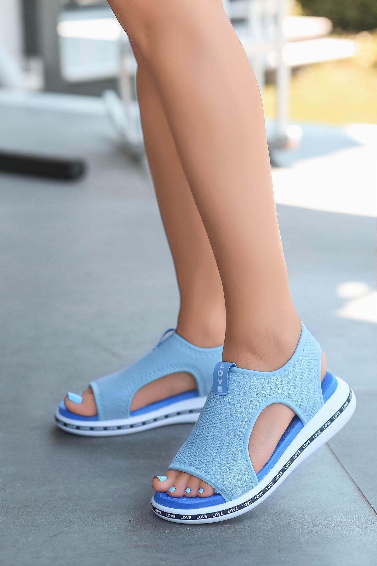 Gözde Likralı Triko Kadın Sandalet Bebe Mavi