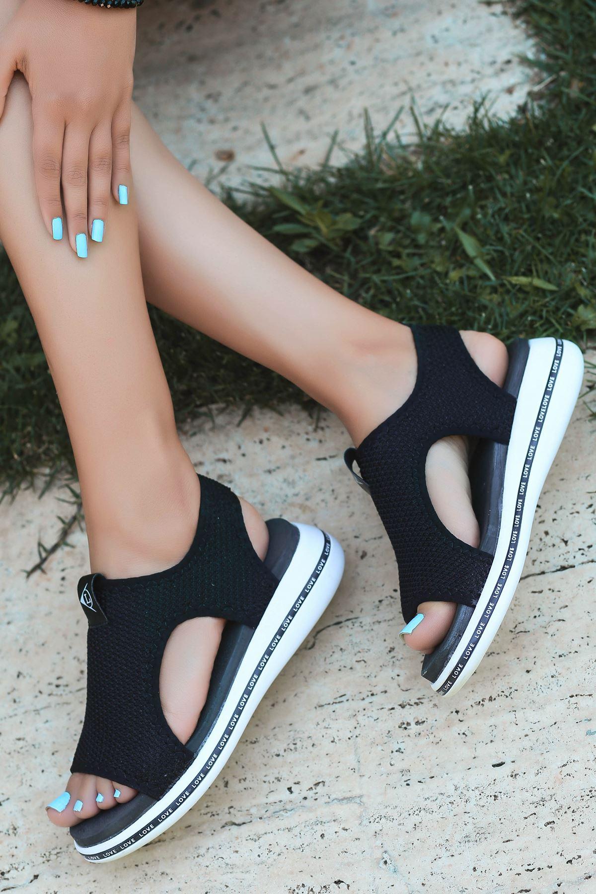 Gözde Likralı Triko Kadın Sandalet Siyah