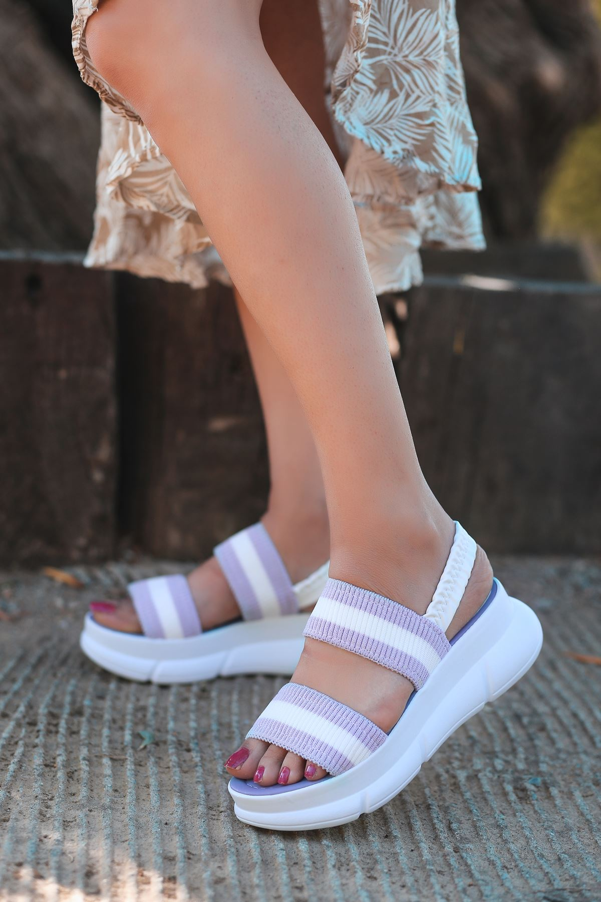 Shine Triko Sandalet Lila