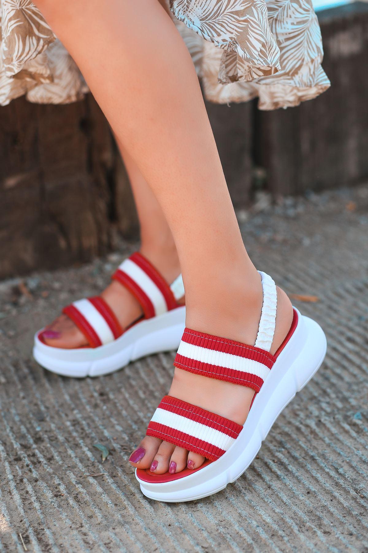Shine Triko Sandalet Kırmızı