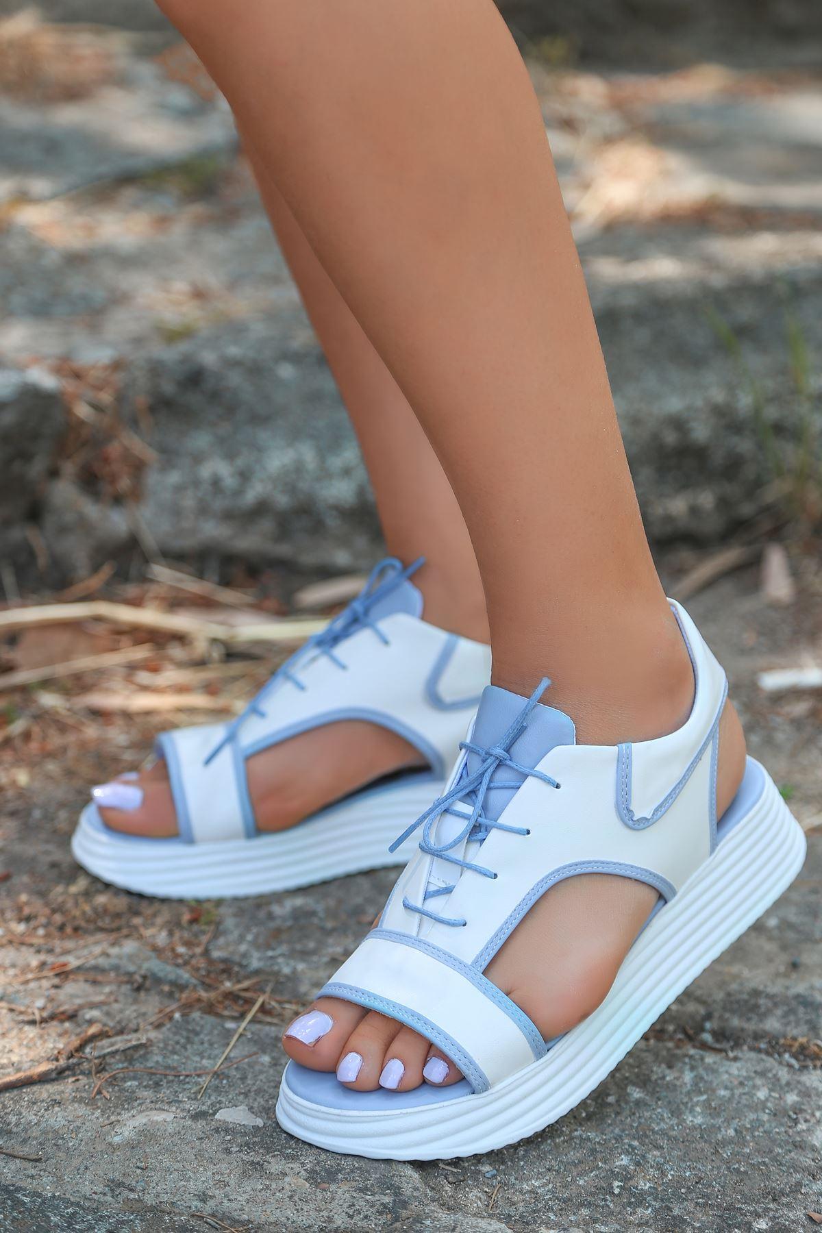 Lace Mat Deri Bağcık Detay Sandalet Bebek Mavi