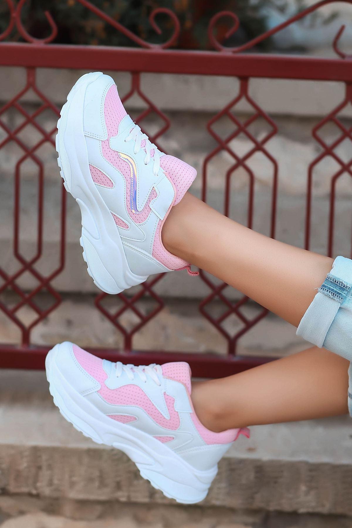 Lili Hologram Detay Fileli Pembe Kadın Spor Ayakkabı