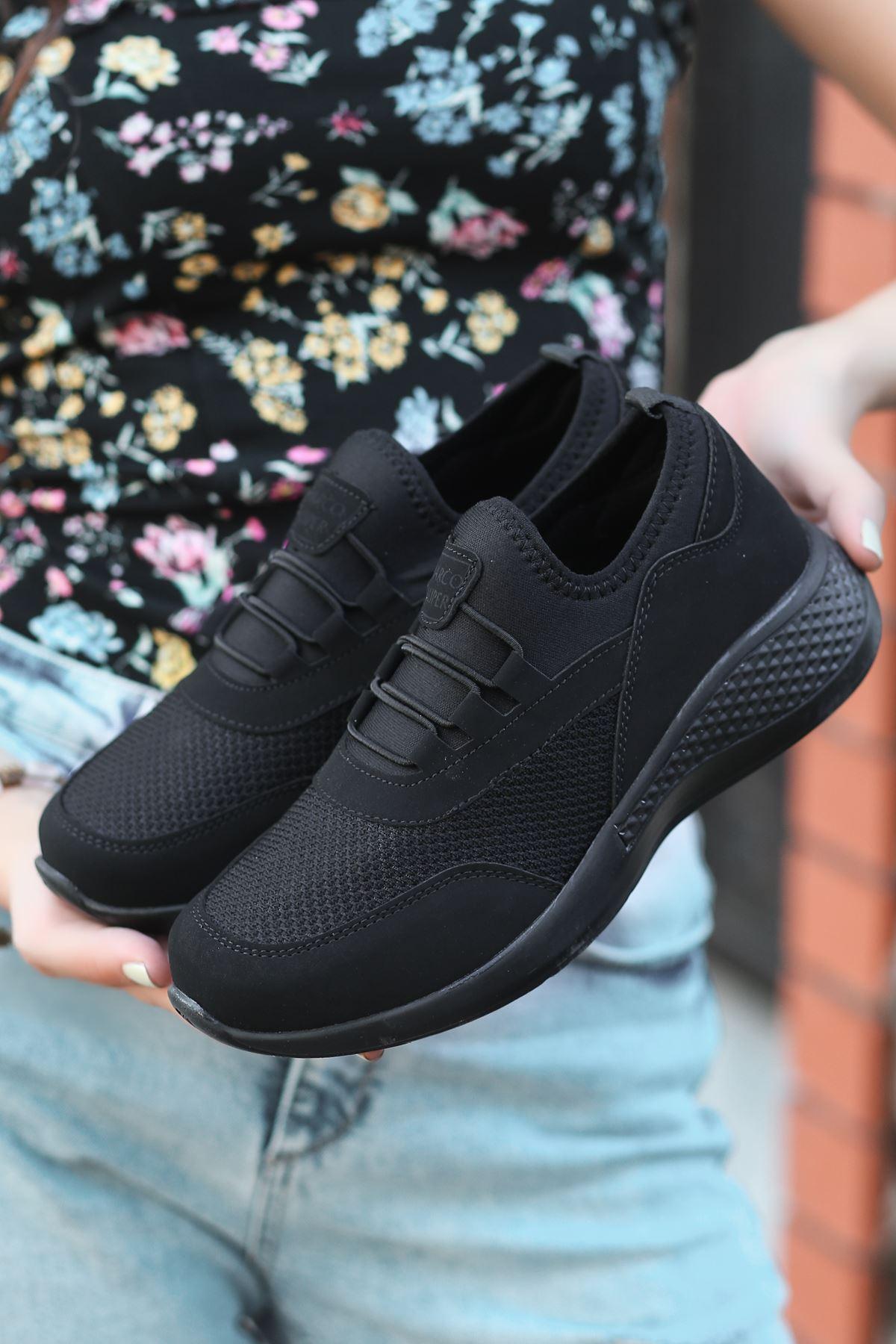 Armenno File Detay Siyah Kadın Spor Ayakkabı ST