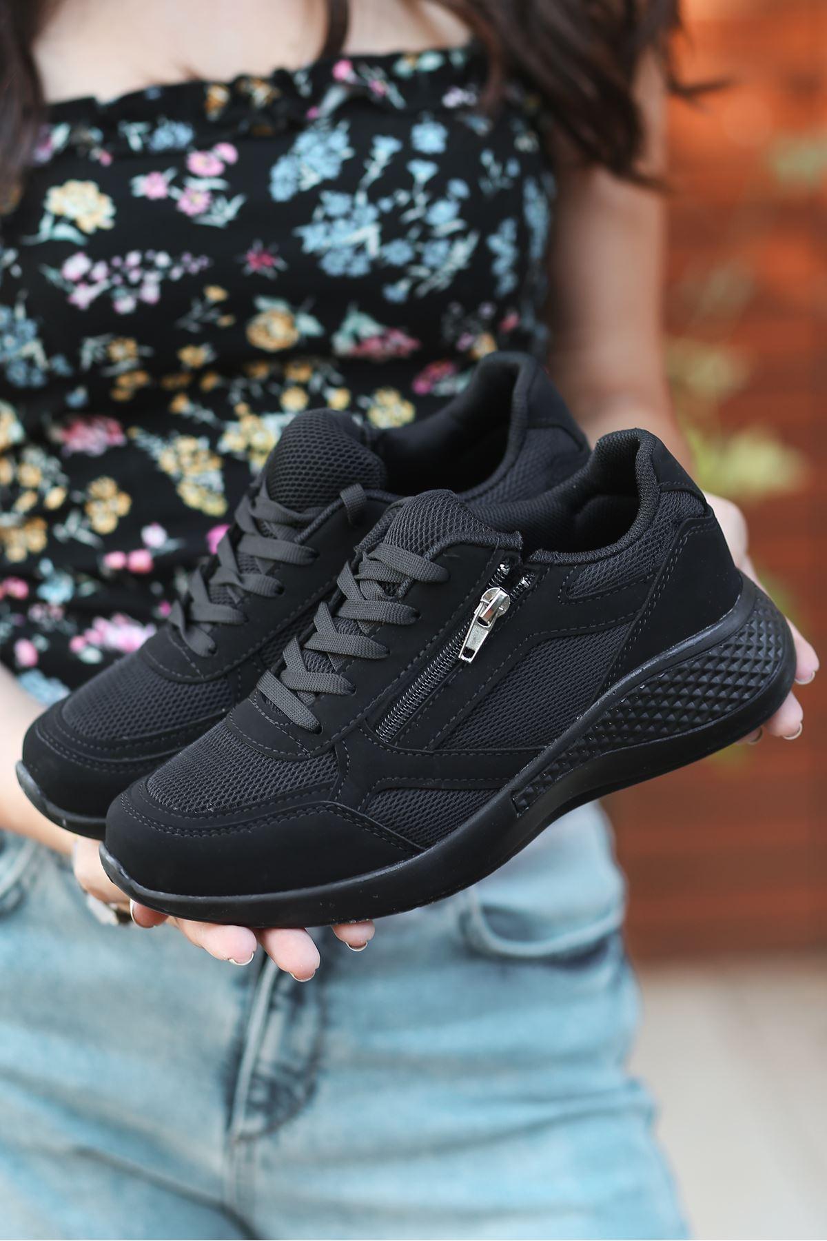 Karenna Fermuar Detay Fileli Siyah Kadın Spor Ayakkabı ST