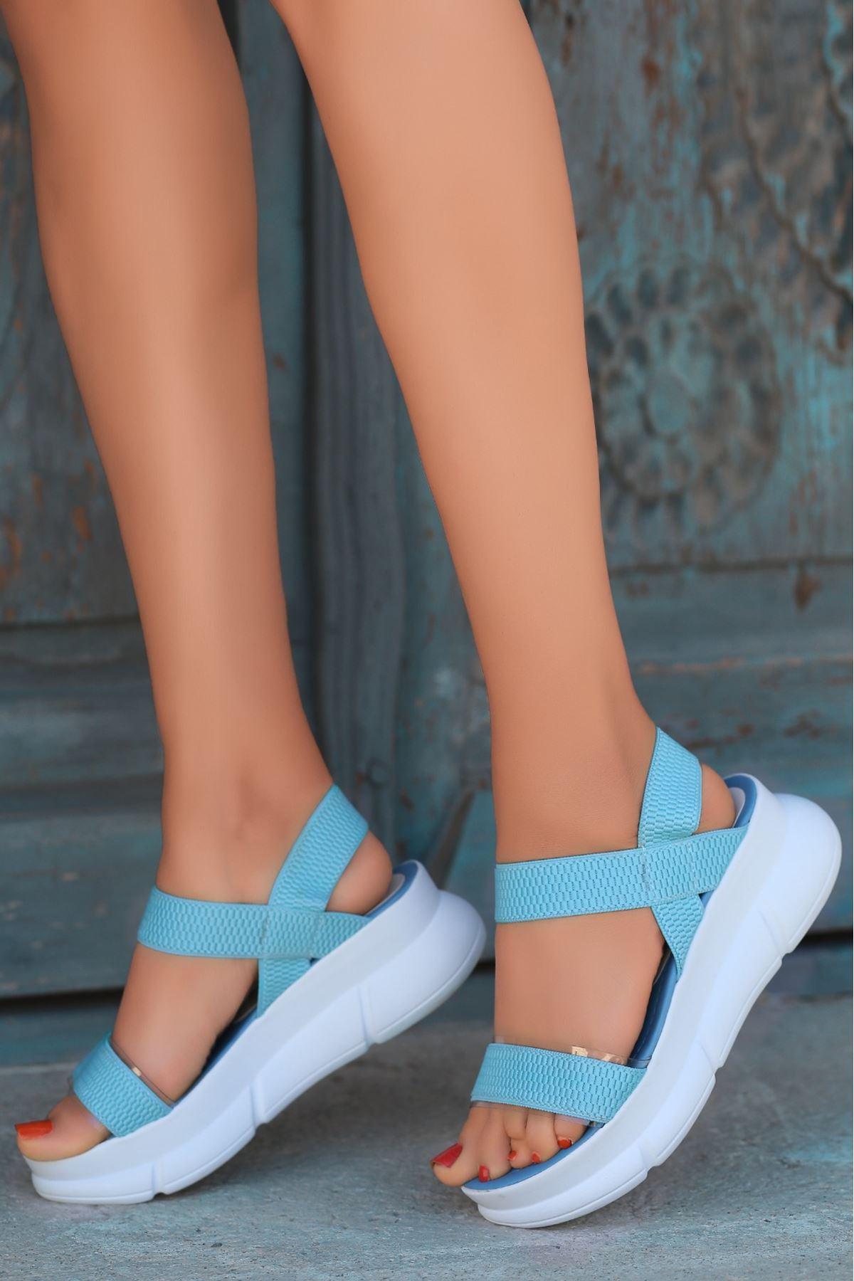 Aure Şeffaf Detay Triko Mavi Kadın Sandalet