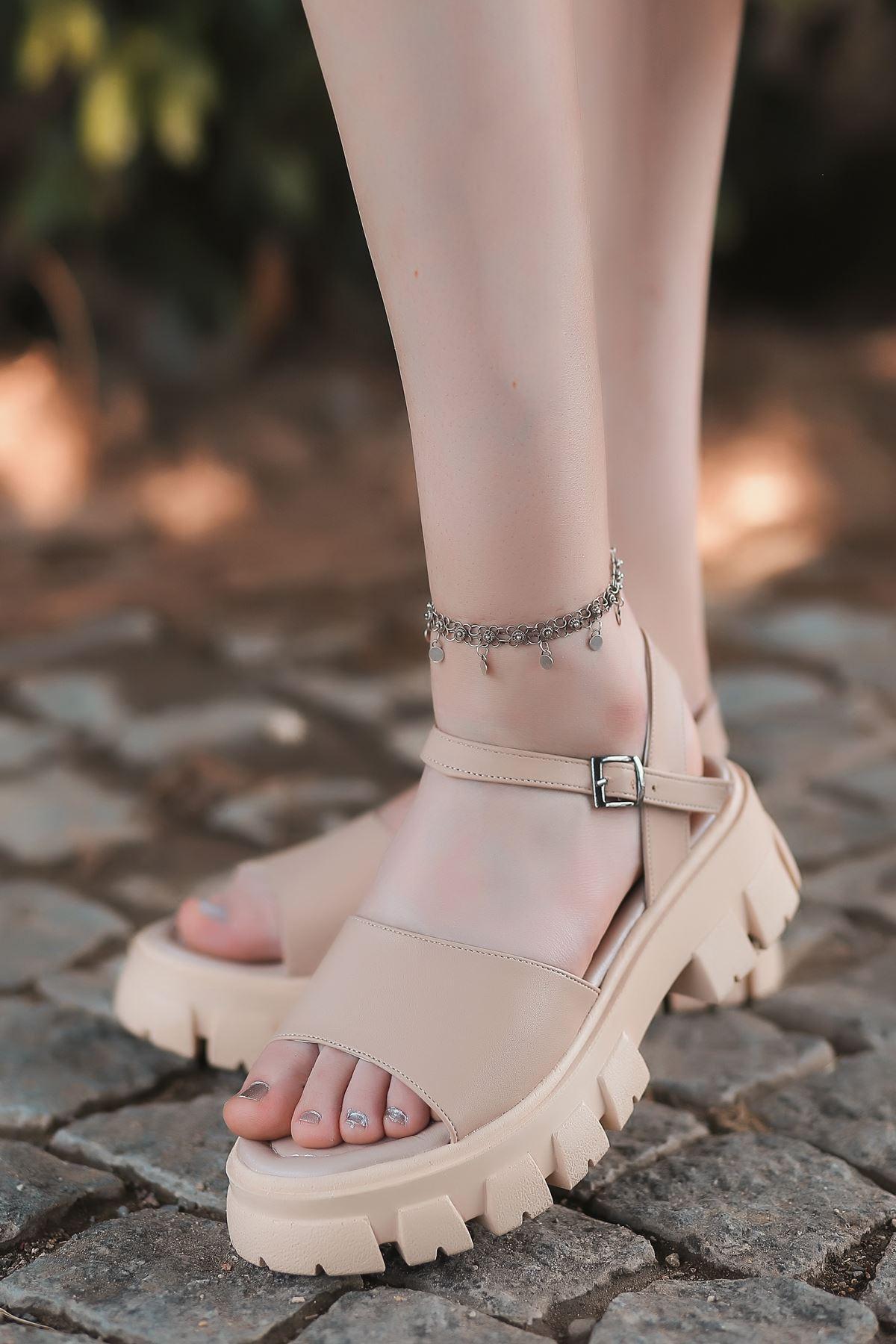 Ozni Mat Deri Kalın Taban Sandalet Ten