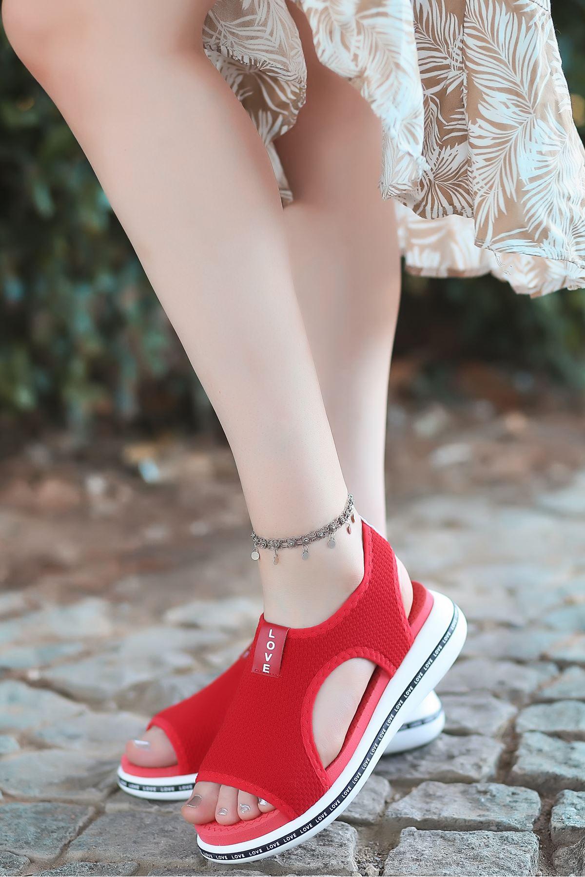 Gözde Likralı Triko Kadın Sandalet Kırmızı