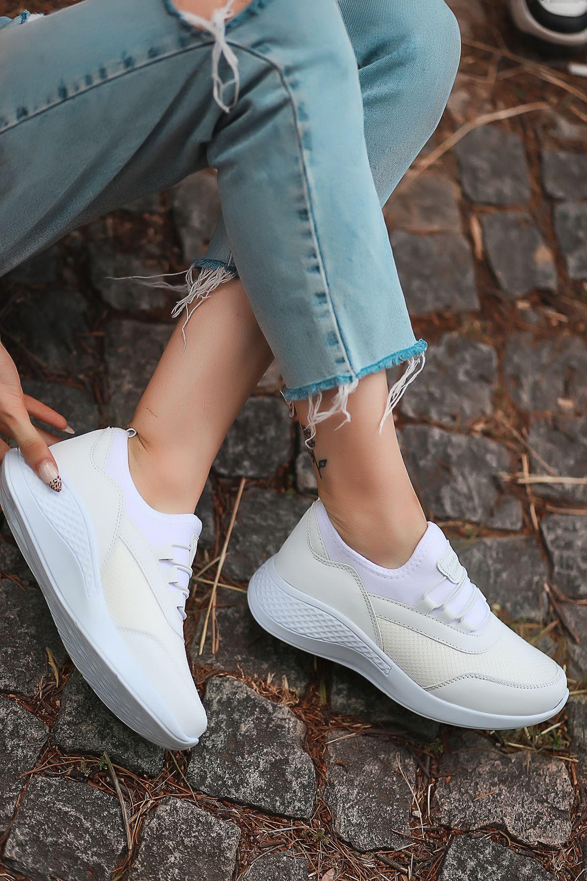 Armenno File Detay Beyaz Kadın Spor Ayakkabı