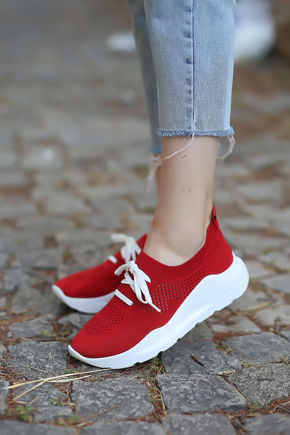 Bertha Bağcık Detaylı Kırmızı Triko Kadın Spor Ayakkabı