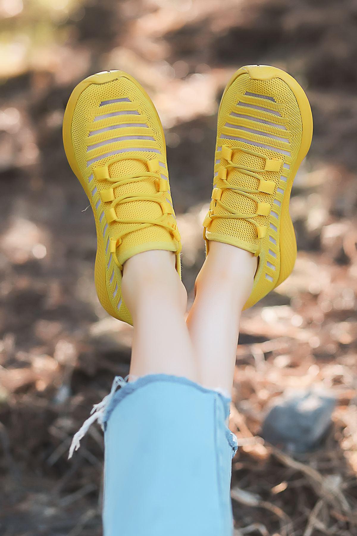 Like Triko File Detay Sarı Spor Ayakkabı