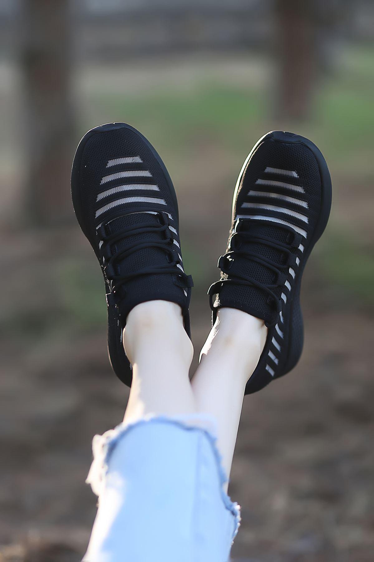 Like Triko File Detay Siyah Spor Ayakkabı