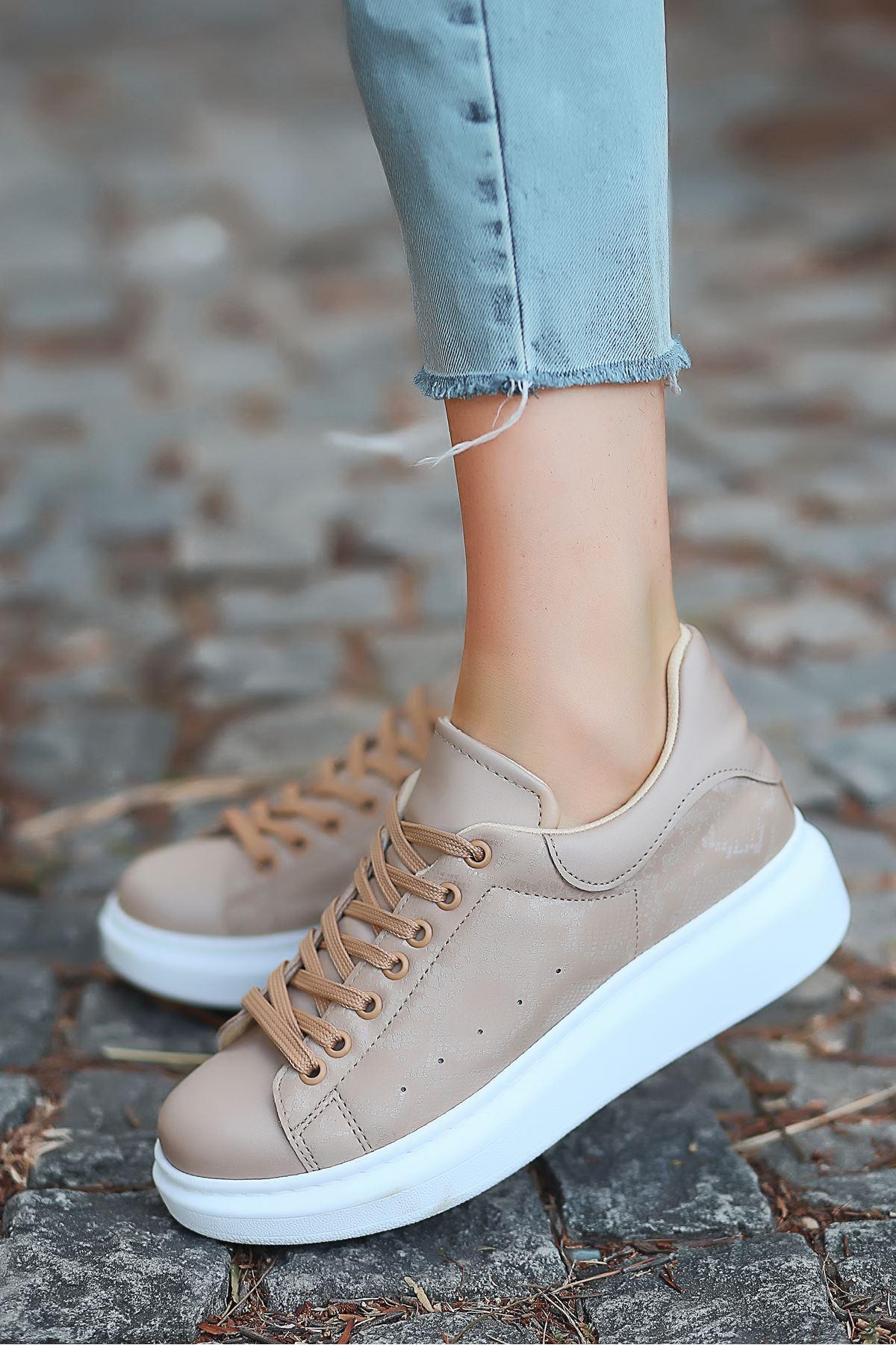 Lucy Saten Kumaş İnce Taban Yılan Desenli  Sneakers Ten