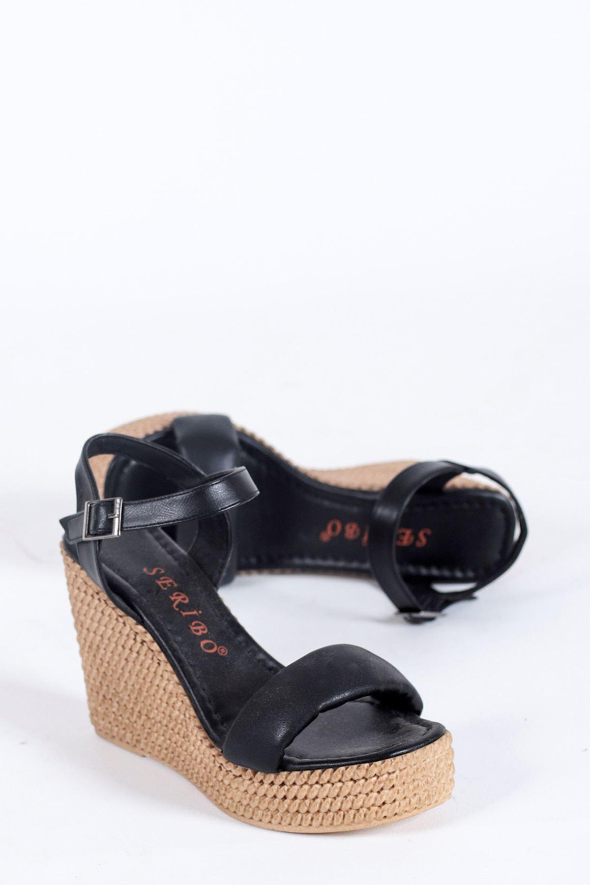 Alinda Pofuduk Siyah Dolgu Topuk Kadın Ayakkabı