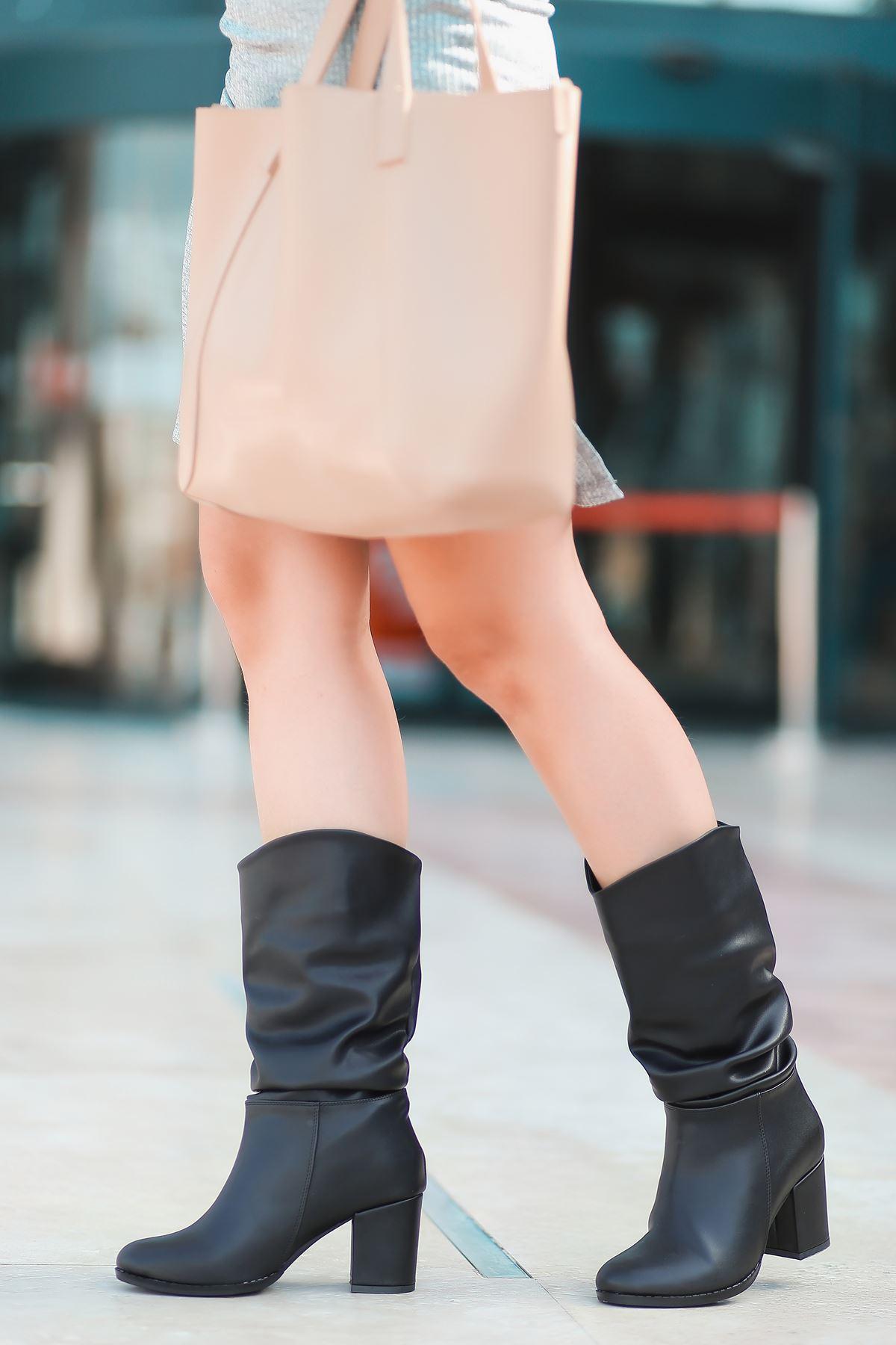 Vivo Mat Deri Körüklü Yüksek Topuklu Kadın Çizme Siyah