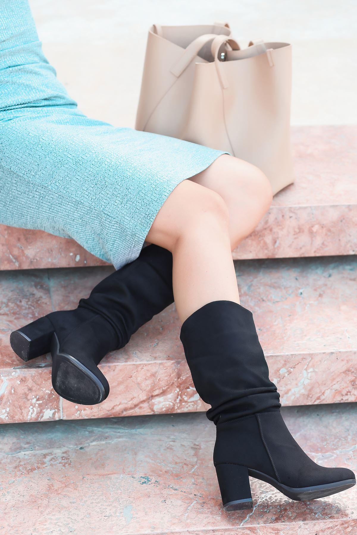 Vivo Körüklü Yüksek Topuklu Kadın Çizme Siyah Süet