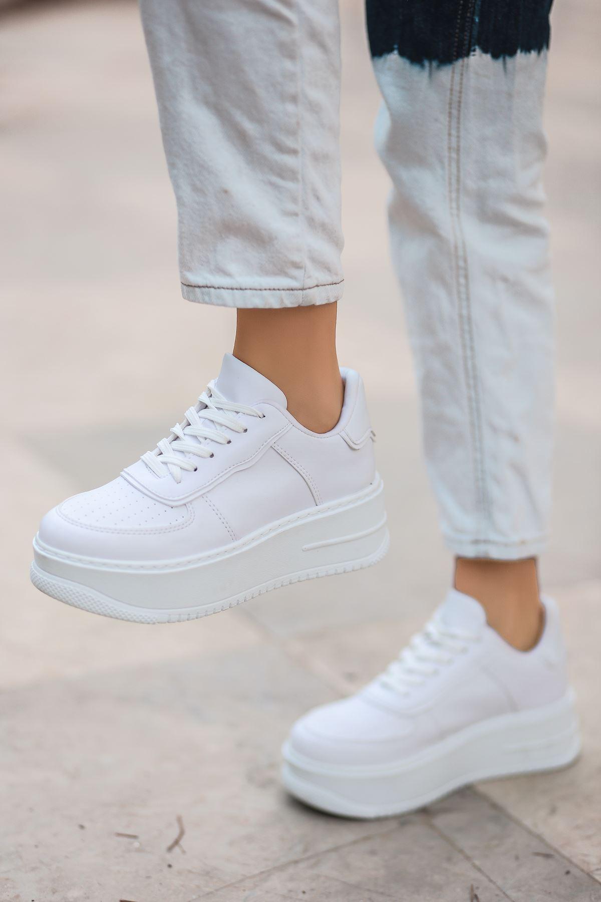 Rms Mat Deri Bağıcıklı Kadın Spor Ayakkabı Beyaz