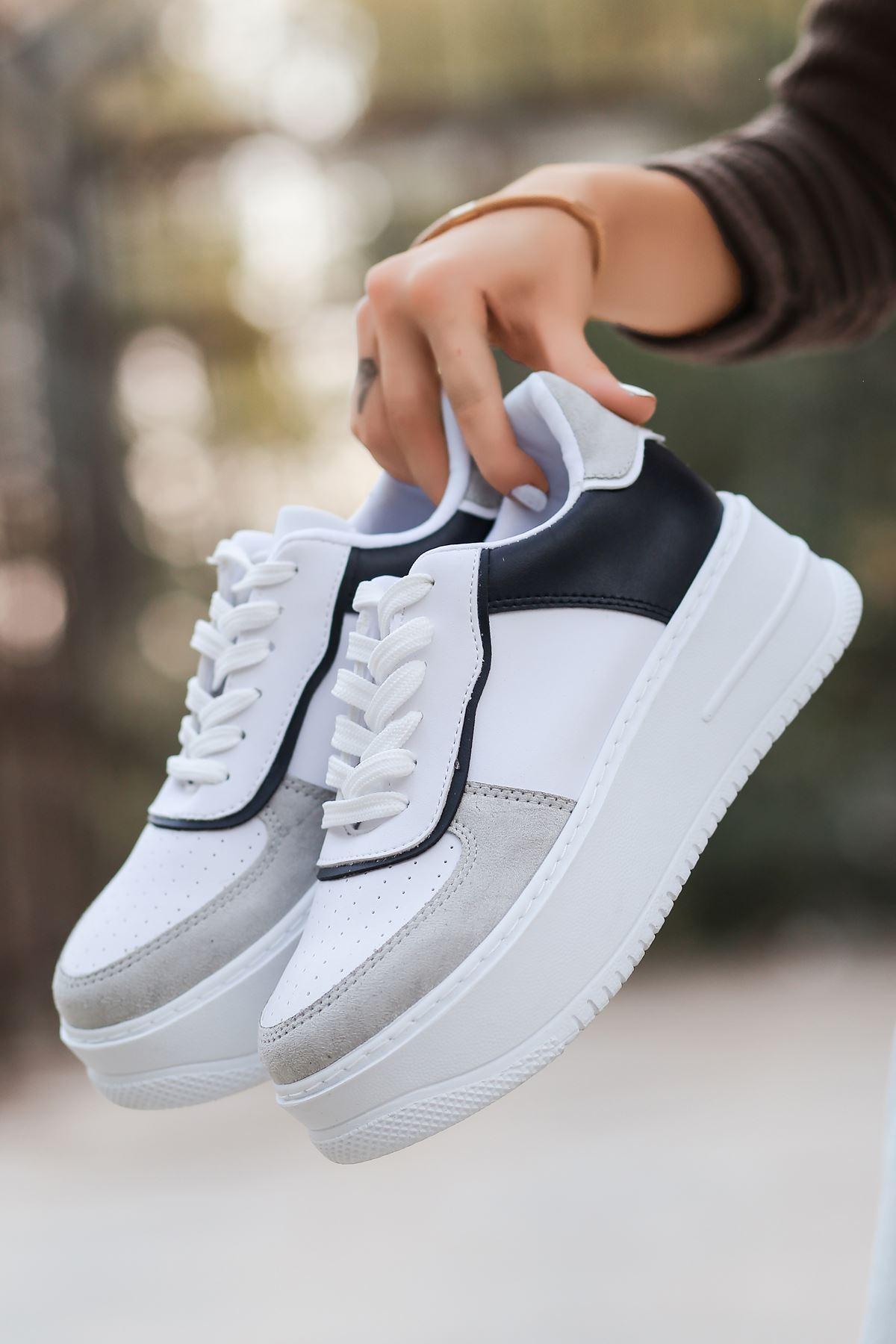 Rms Mat Deri Bağıcıklı Kadın Spor Ayakkabı Siyah