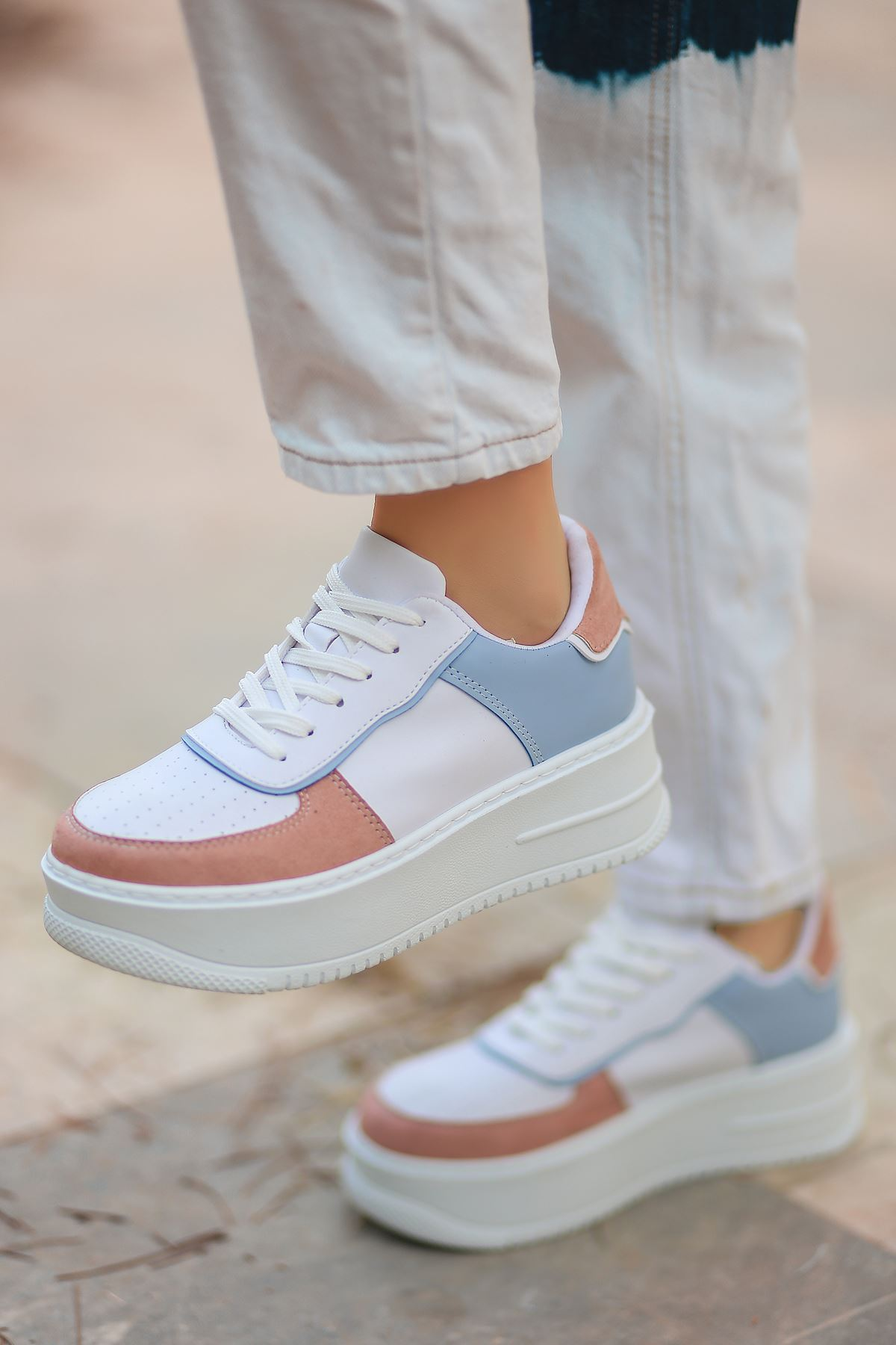 Rms Mat Deri Bağıcıklı Kadın Spor Ayakkabı Mavi